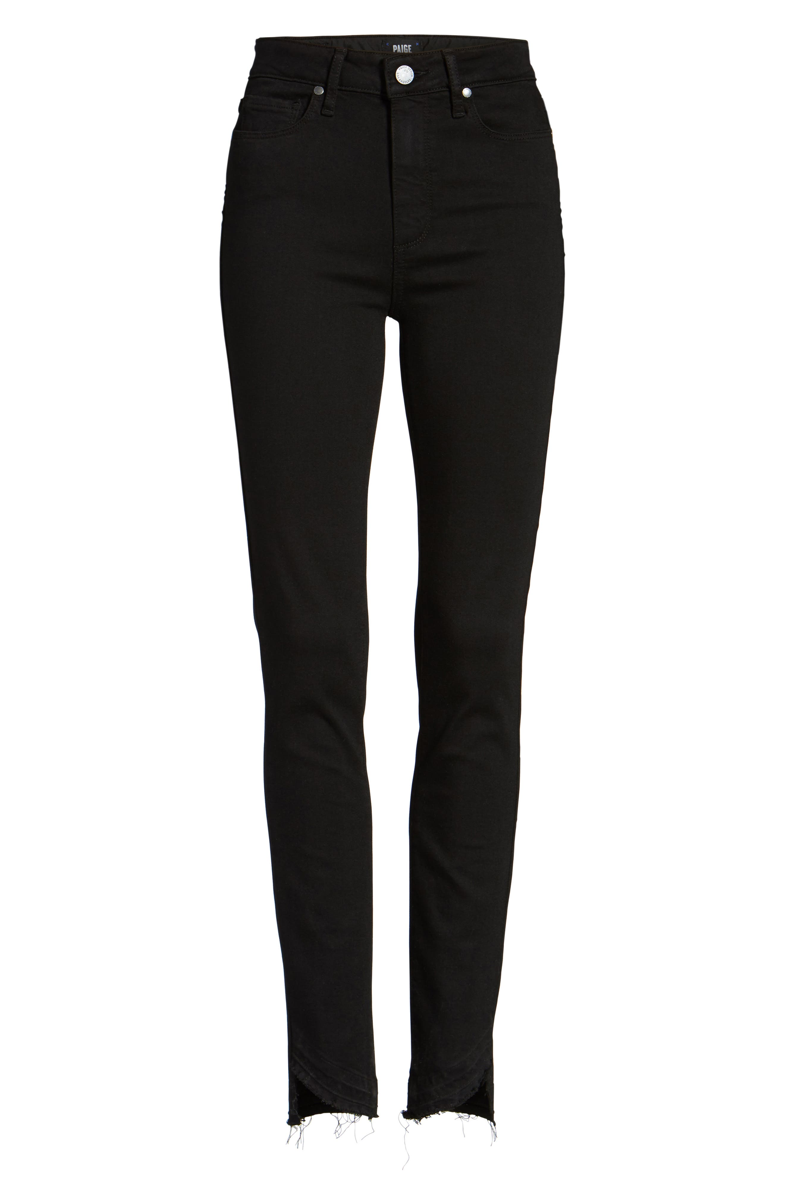 Alternate Image 6  - PAIGE Transcend Hoxton High Waist Undone Hem Skinny Jeans (Black Shadow)