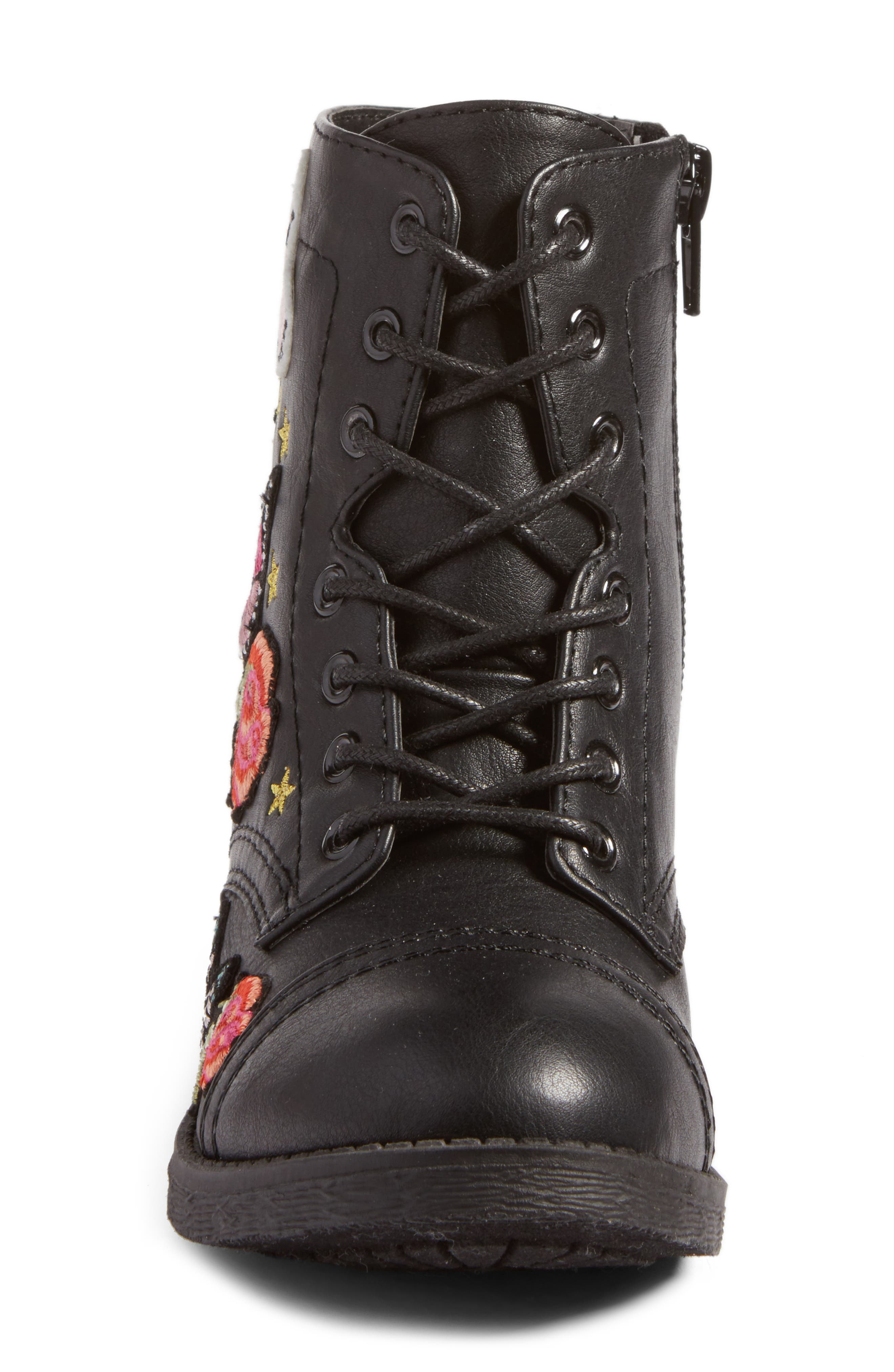 Roaring Embroidered Combat Boot,                             Alternate thumbnail 4, color,                             Black Faux Leather