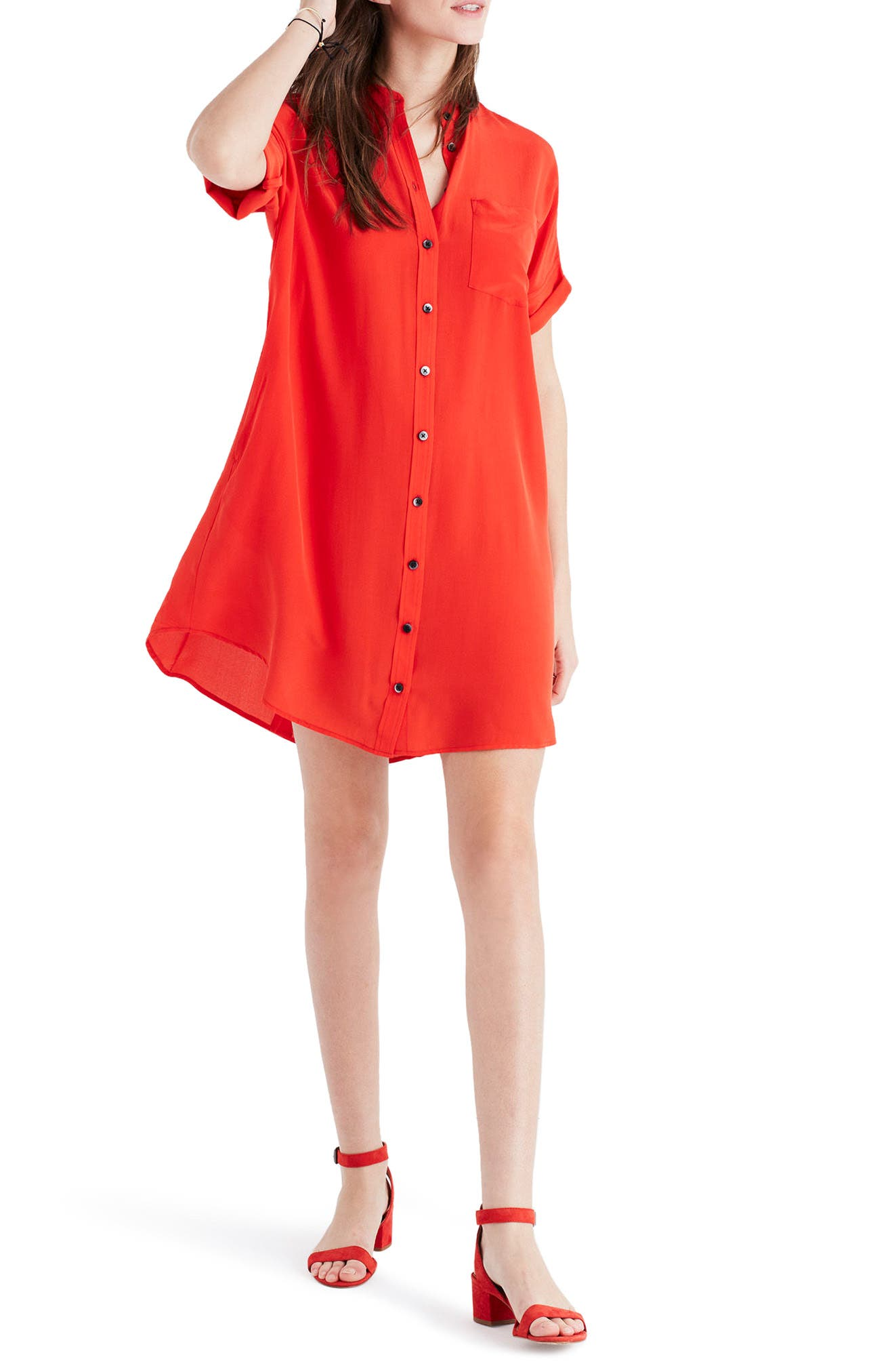 Main Image - Madewell Button Down Silk Shirtdress