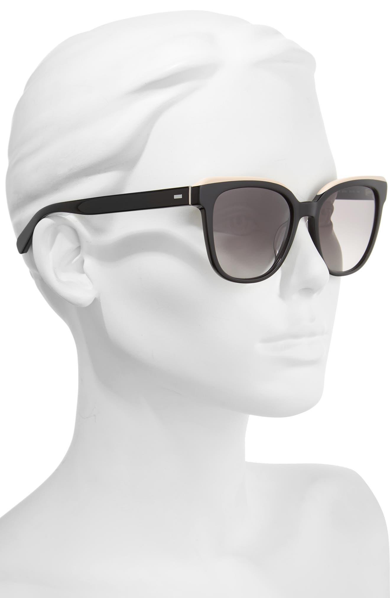 The Bardot 53mm Gradient Sunglasses,                             Alternate thumbnail 2, color,                             Black