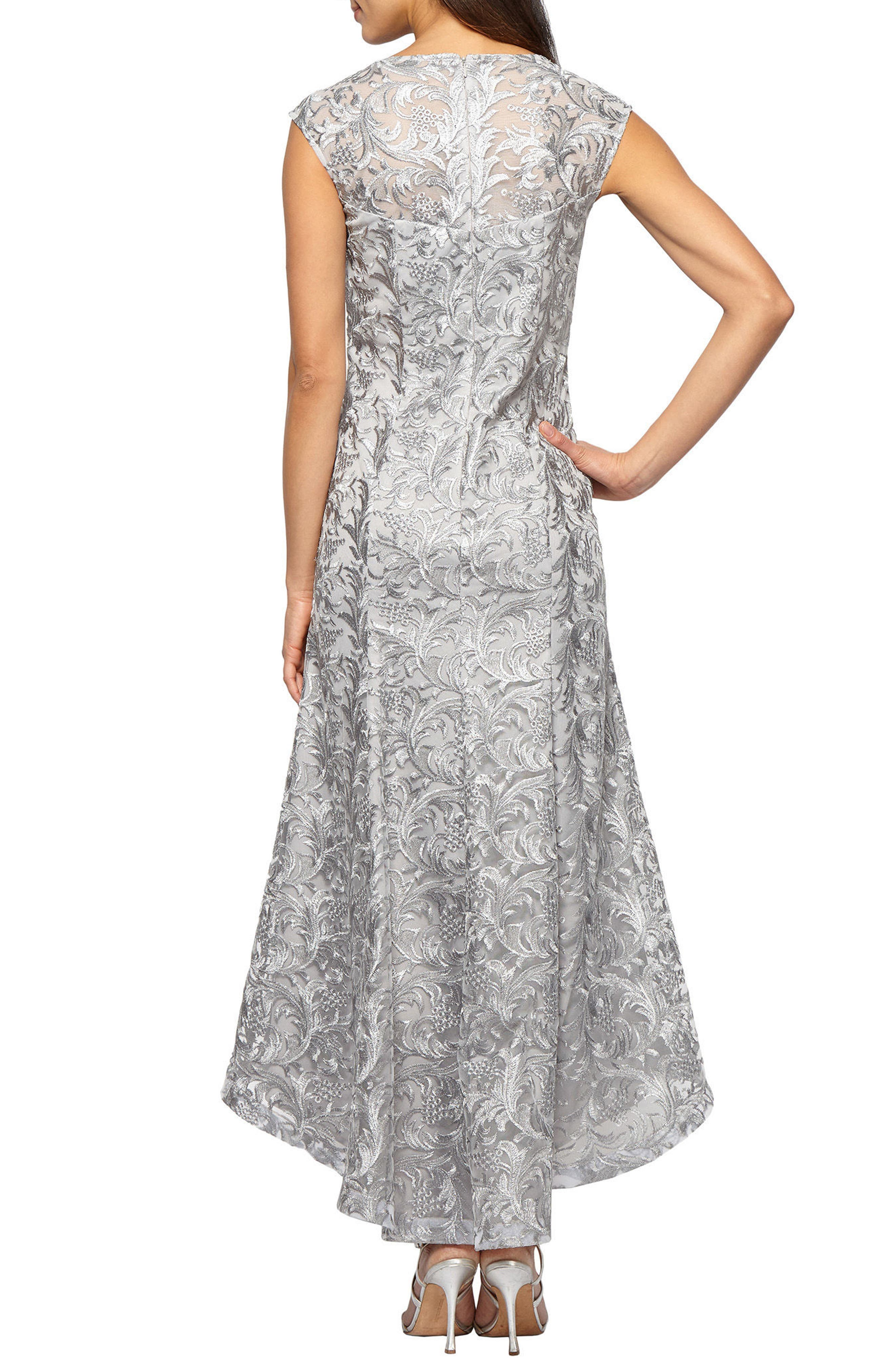 High/Low Lace Dress,                             Alternate thumbnail 2, color,                             Silver