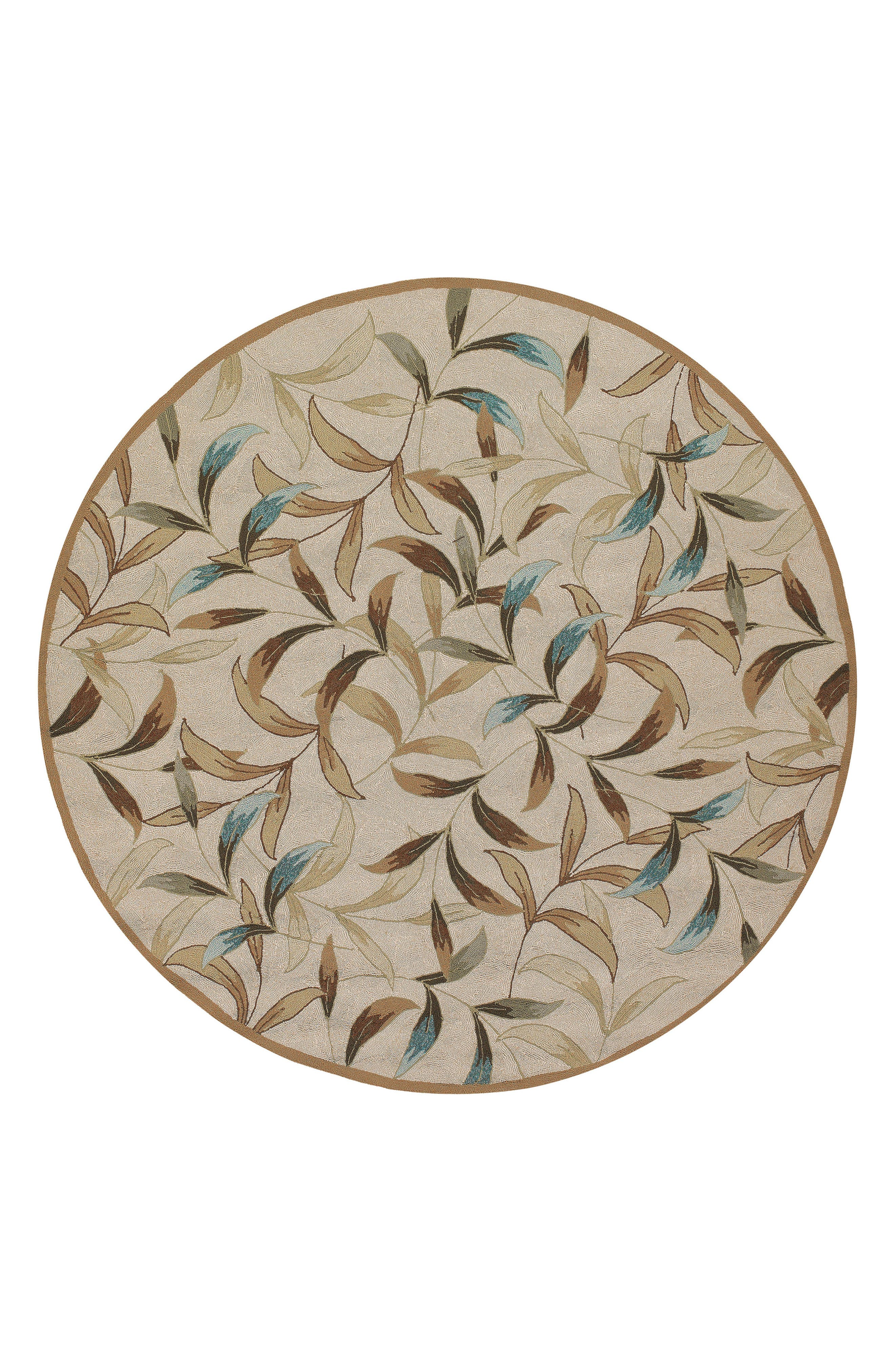 Spring Vista Indoor/Outdoor Round Rug,                             Main thumbnail 1, color,                             Natural/ Blue