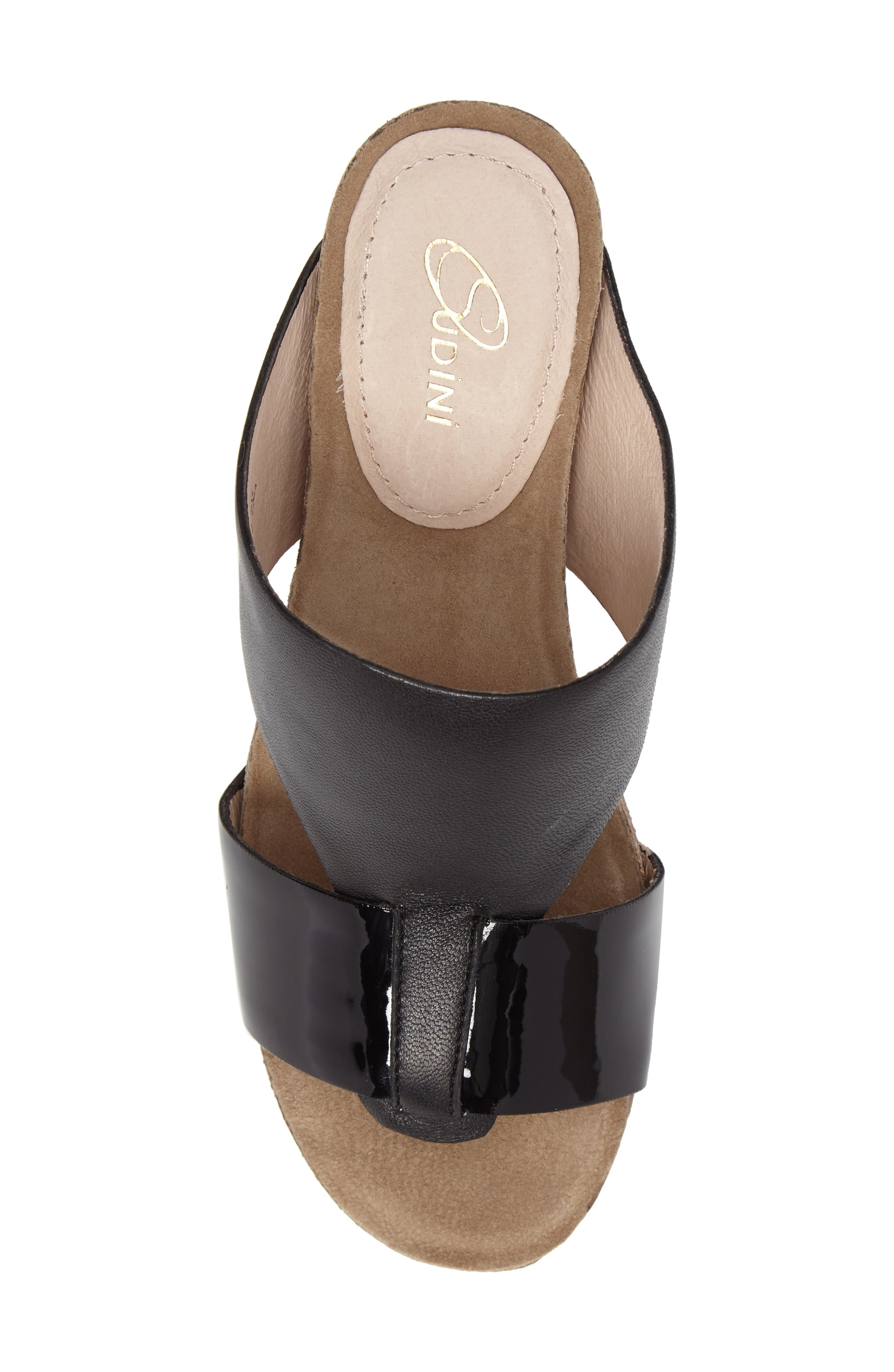 Berta Wedge Sandal,                             Alternate thumbnail 4, color,                             Black Leather