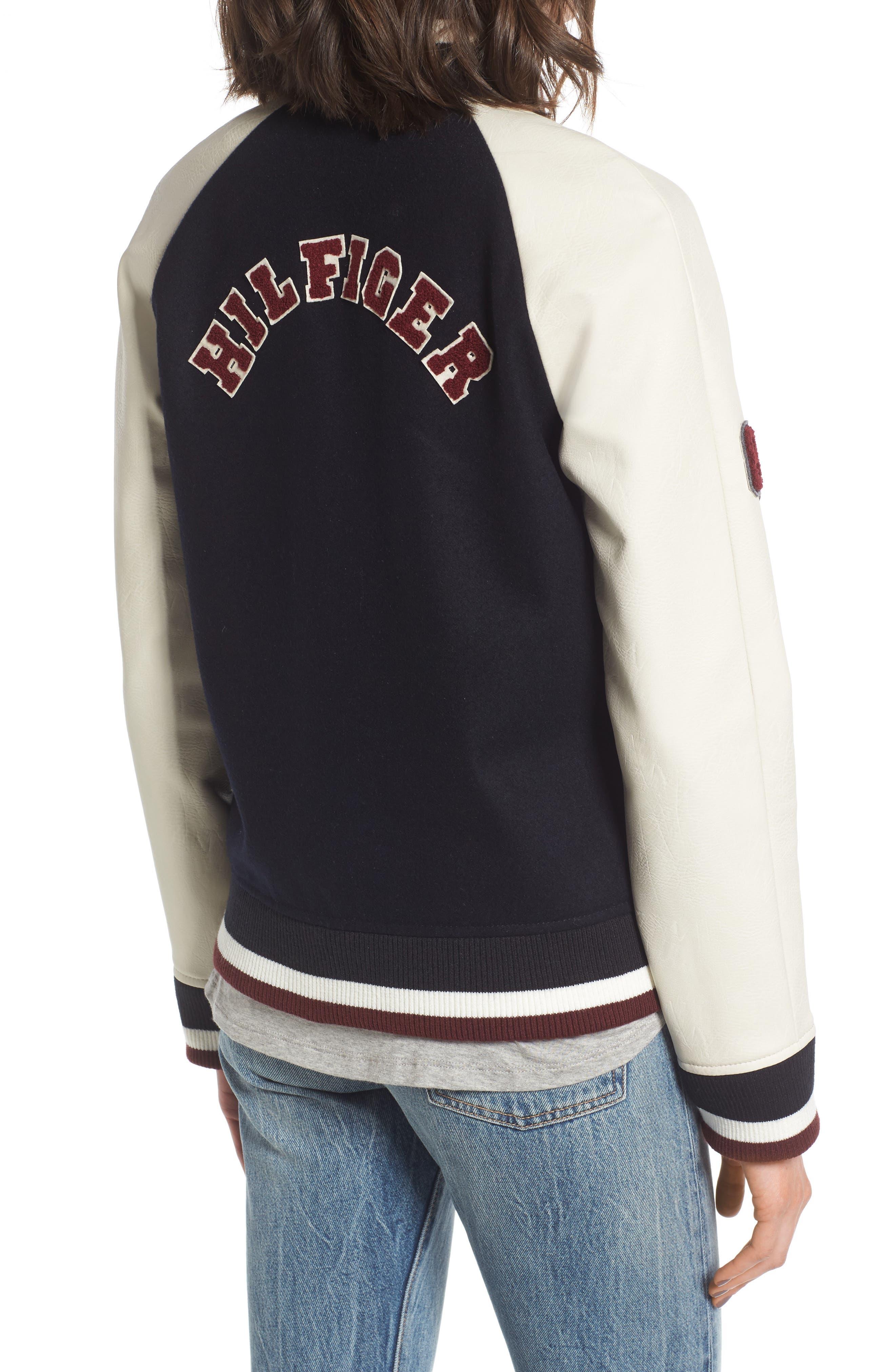 Alternate Image 2  - Tommy Hilfiger Mixed Media Varsity Jacket