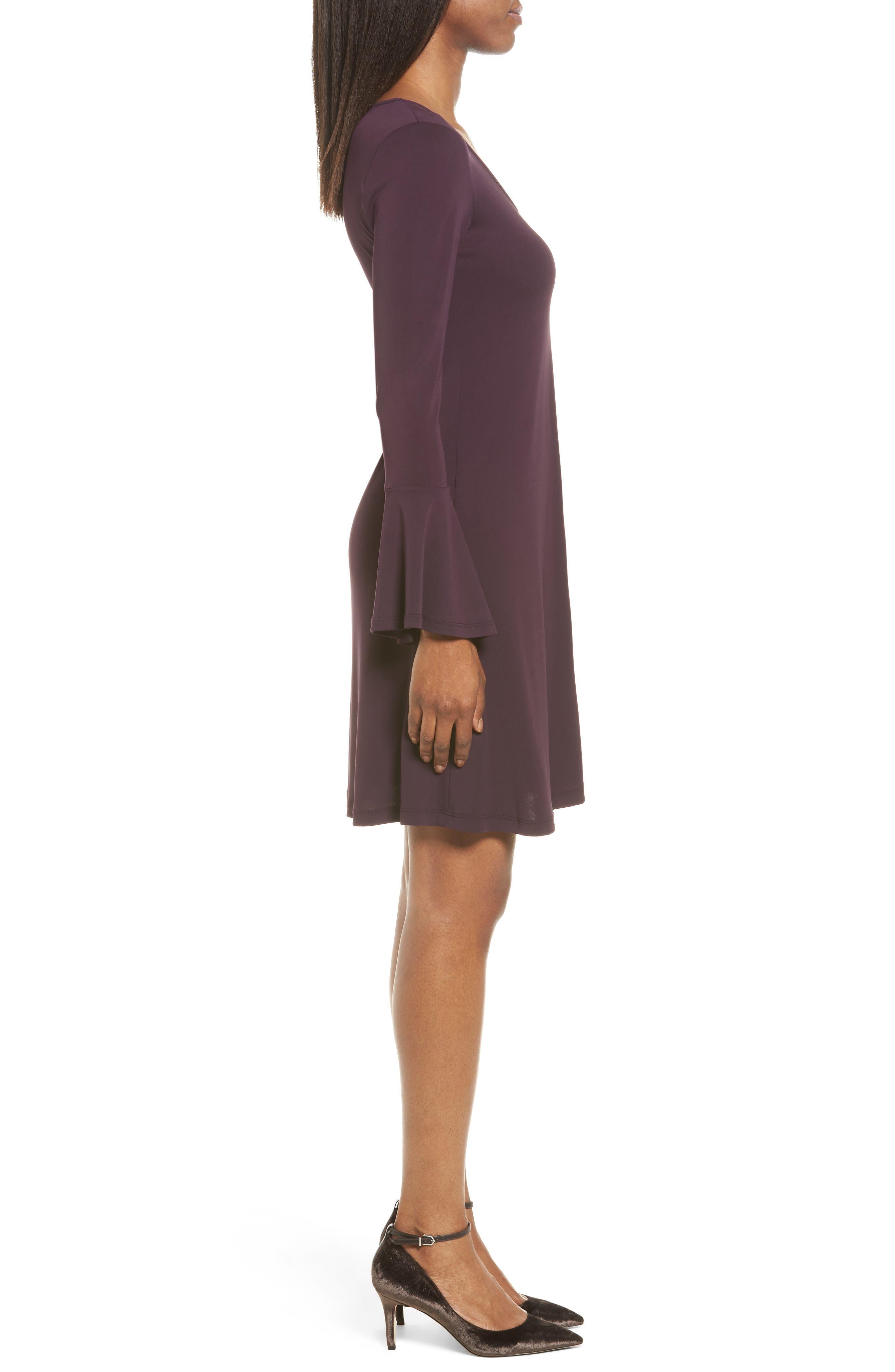 Taylor Flare Sleeve A-Line Dress,                             Alternate thumbnail 3, color,                             Eggplant