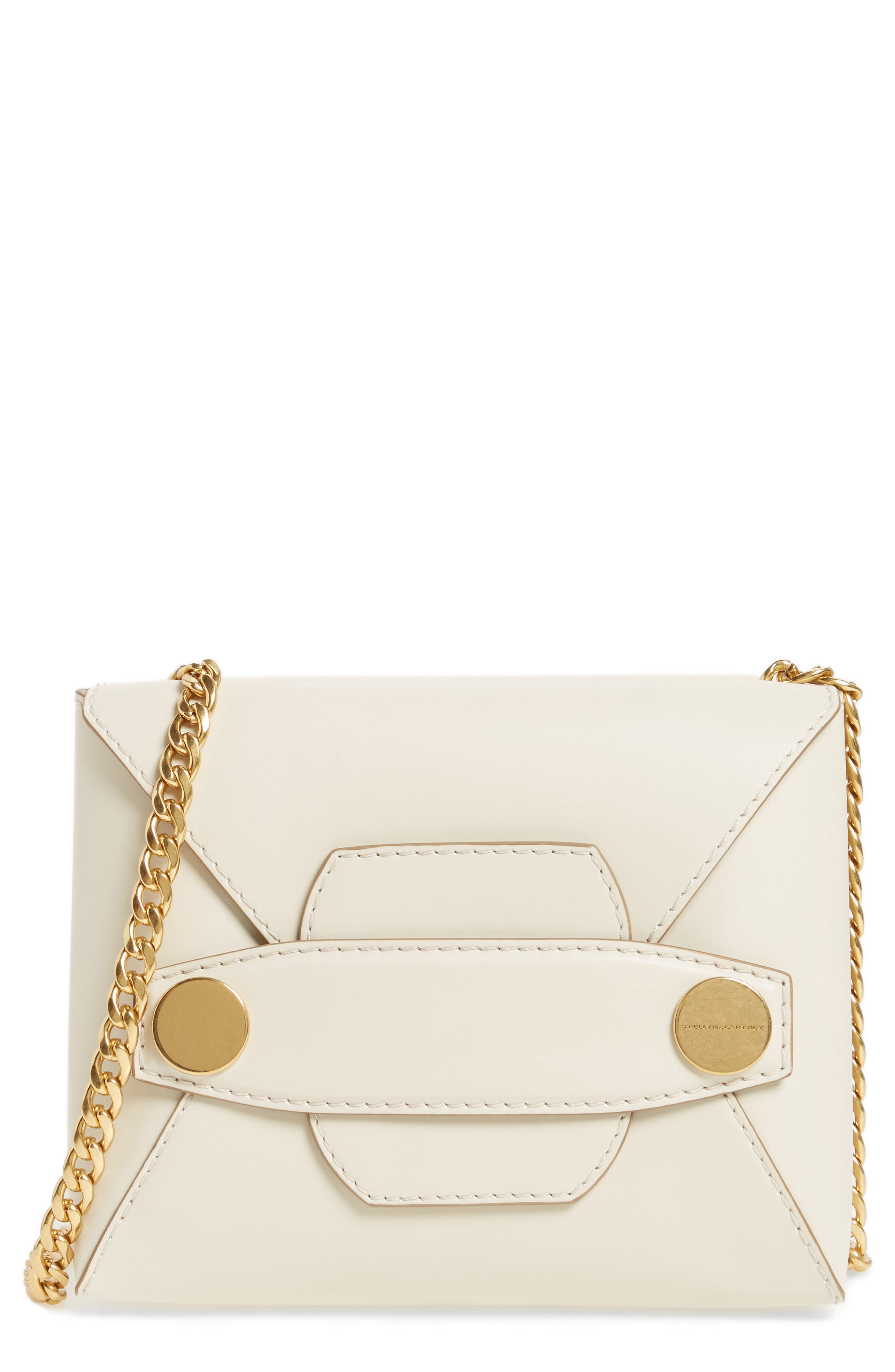 Small Faux Leather Crossbody Bag,                             Main thumbnail 1, color,                             Ivory