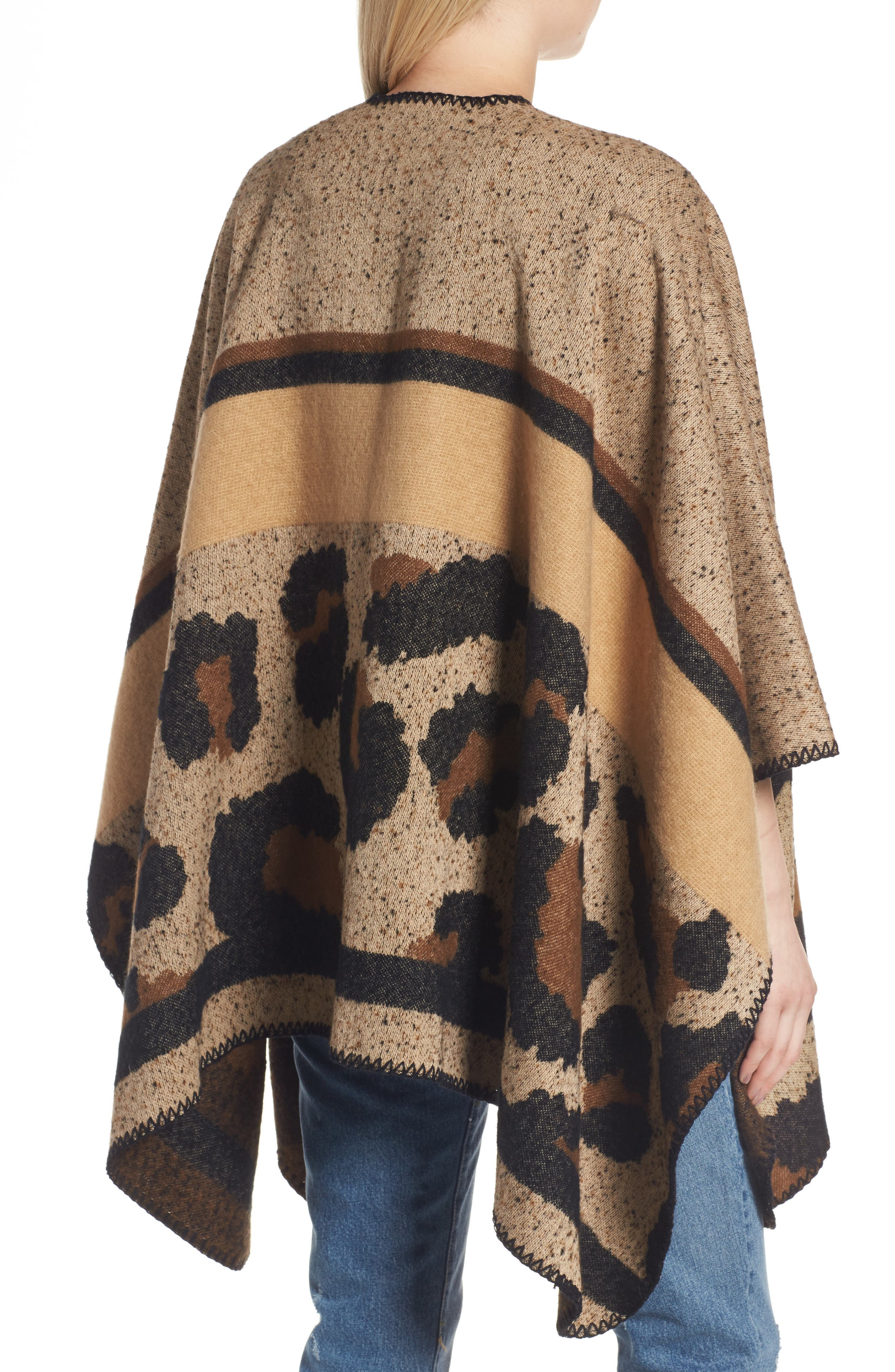 BP Leopard Print Ruana,                             Alternate thumbnail 2, color,                             Brown Multi
