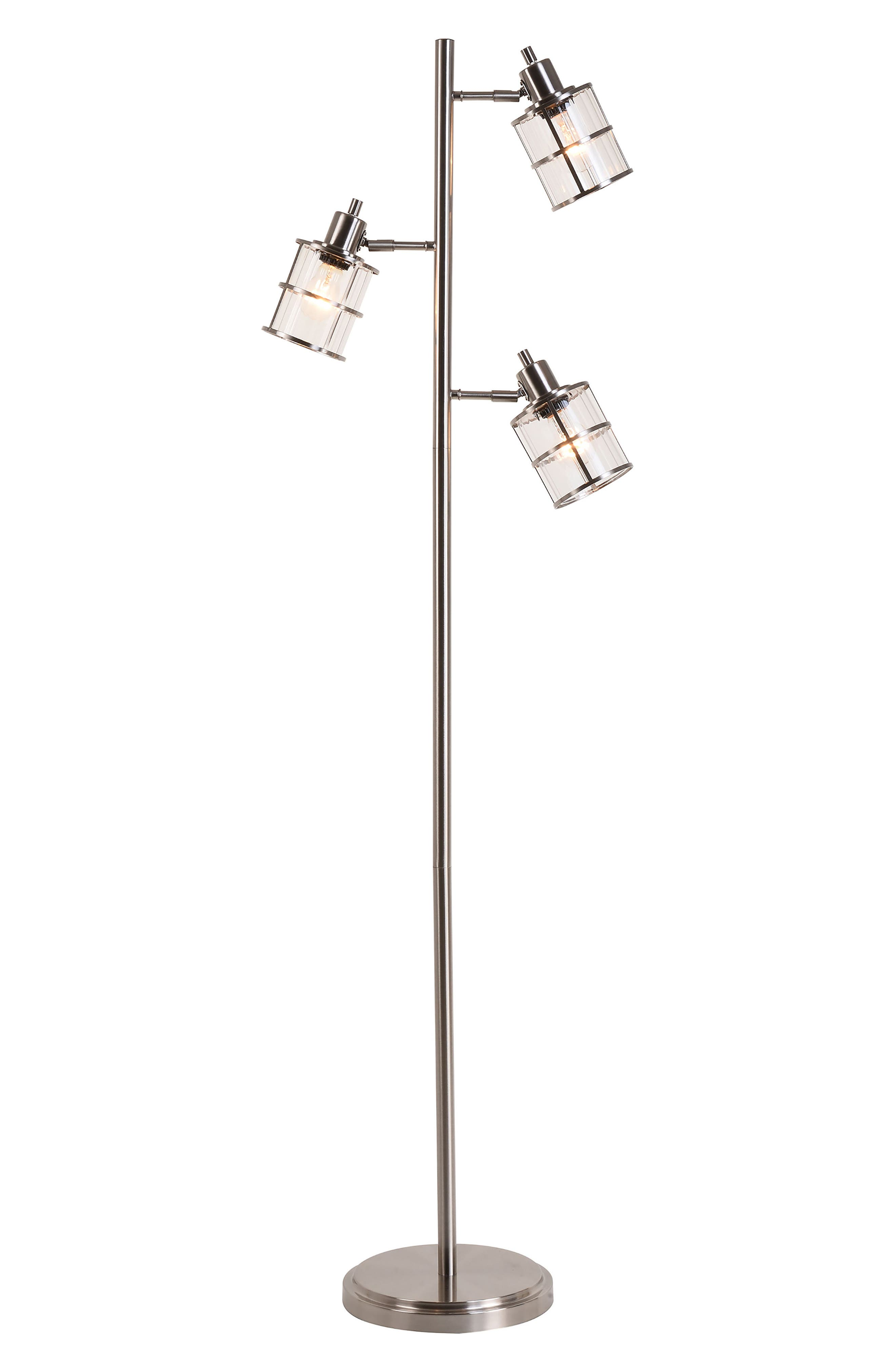 JAlexander Ribbed Glass 3-Head Floor Lamp,                         Main,                         color, Metallic Silver