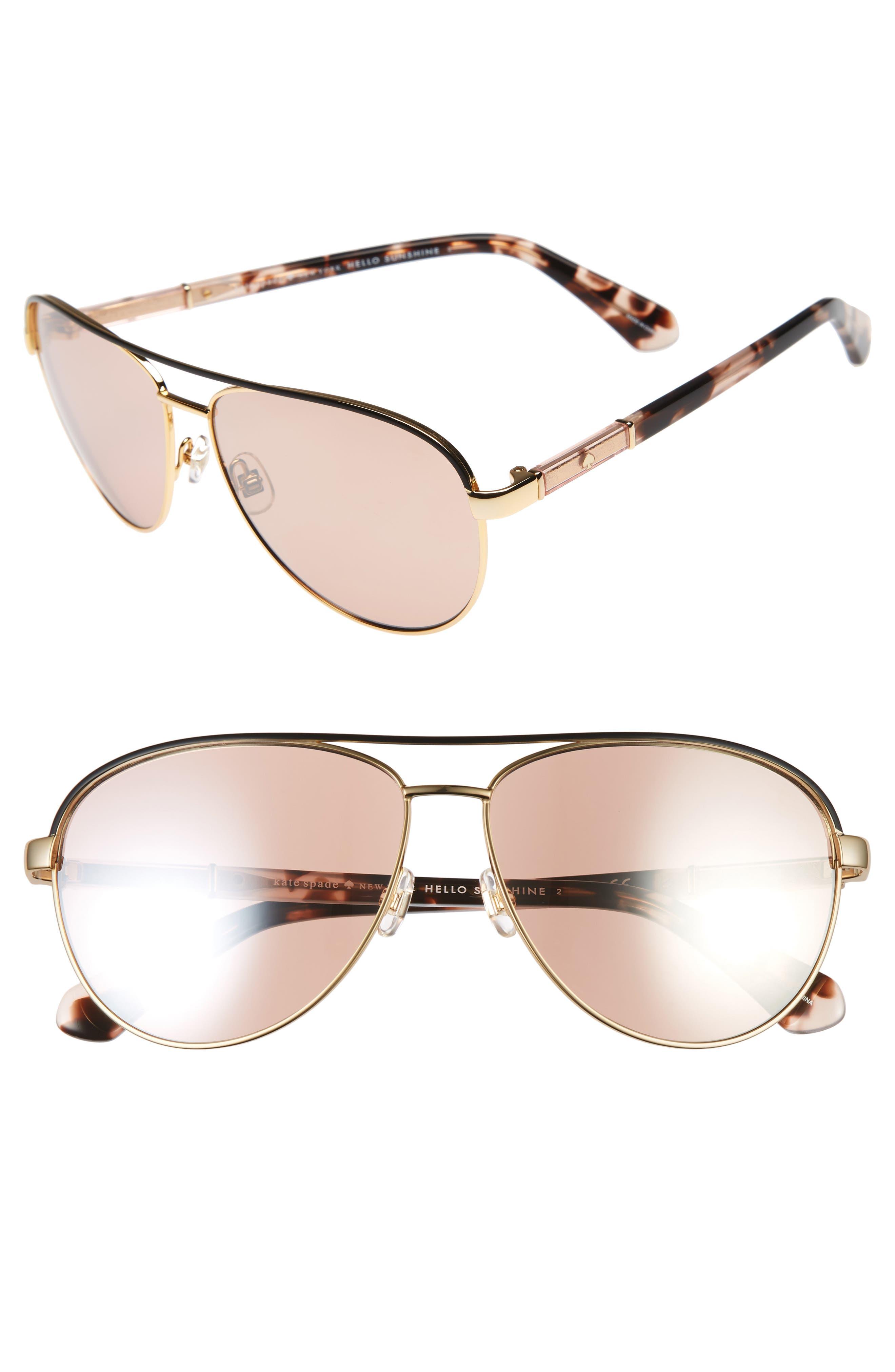 emilyann 59mm aviator sunglasses,                         Main,                         color, Gold/ Plum Havana