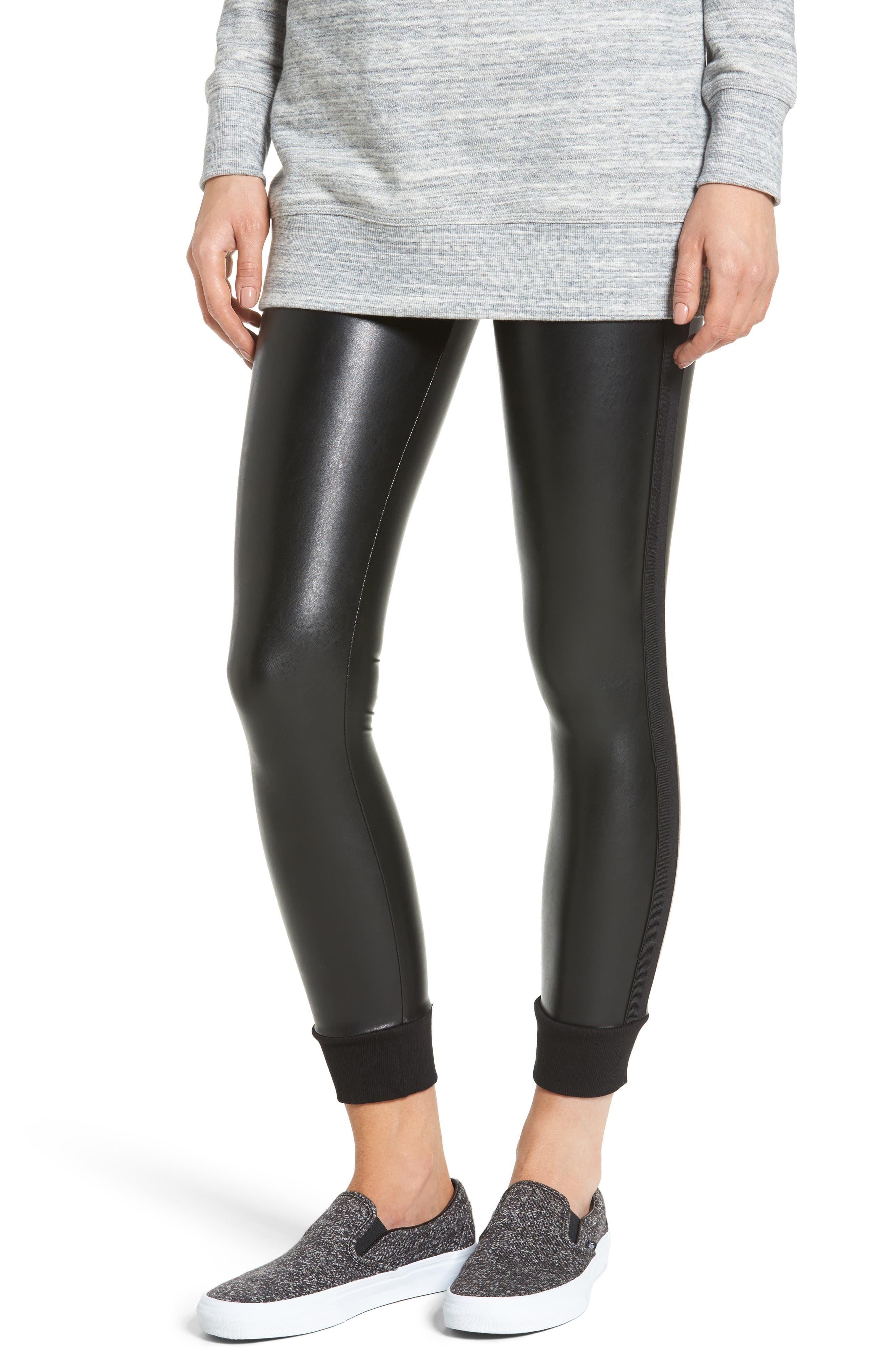 Cuffed Faux Leather Leggings,                         Main,                         color, Black