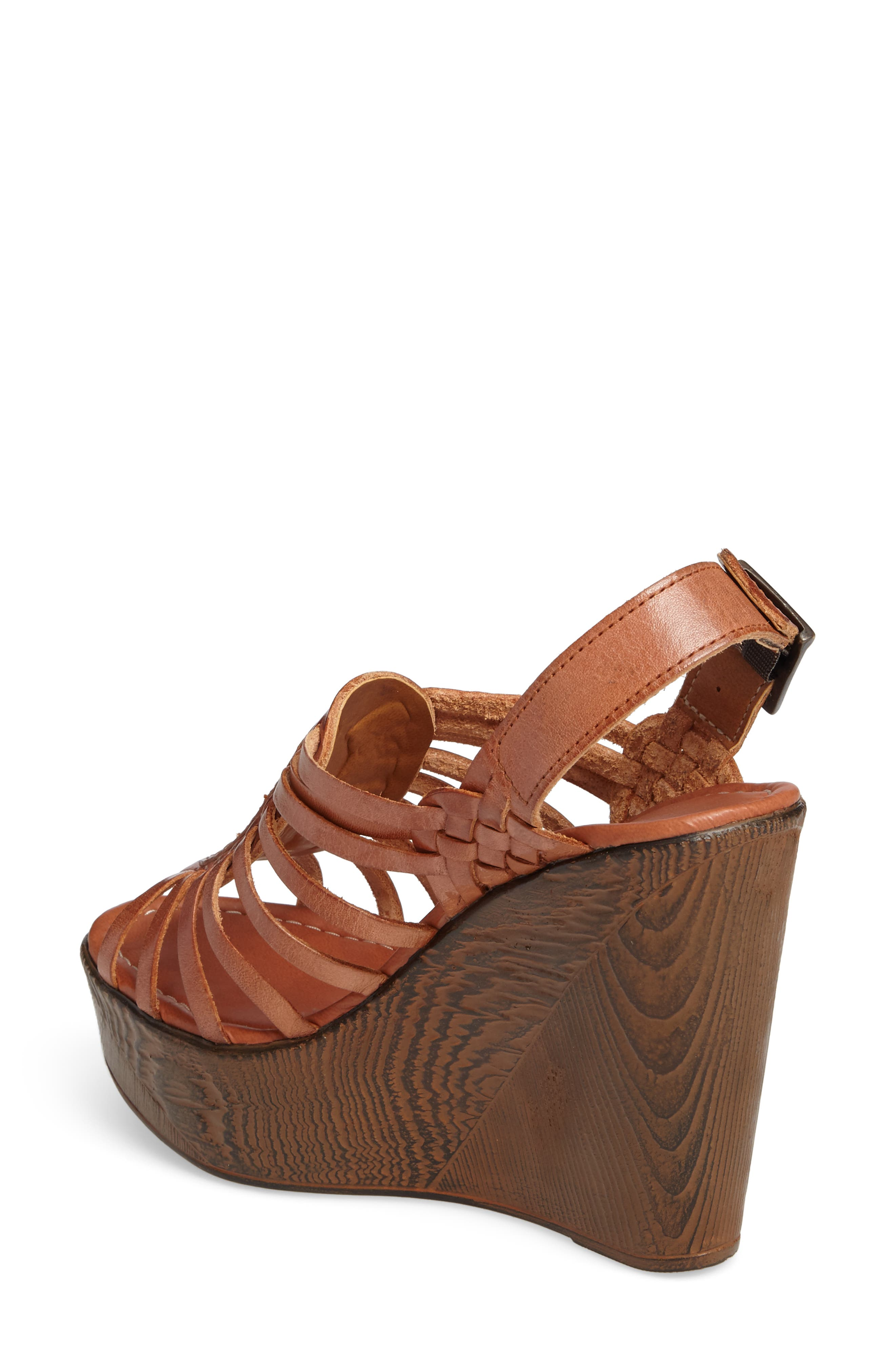Prolific Wedge Sandal,                             Alternate thumbnail 2, color,                             Tan Leather