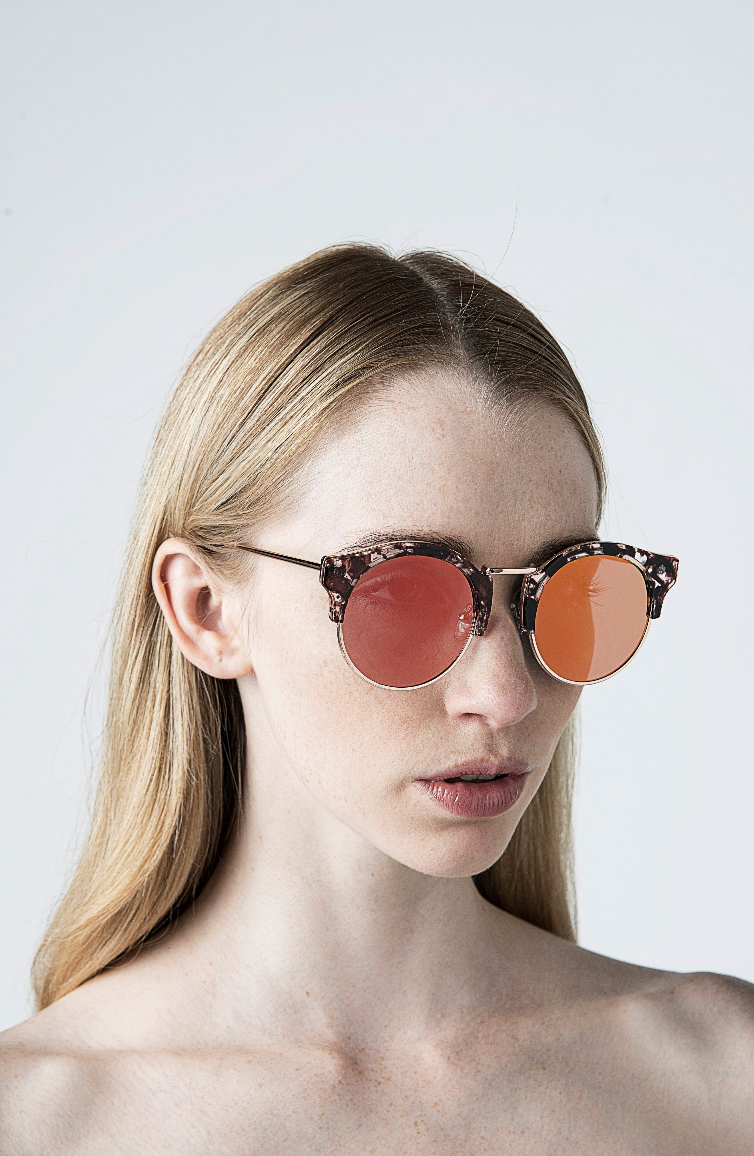 Broadway 51mm Retro Sunglasses,                             Alternate thumbnail 2, color,                             Lovesick Red