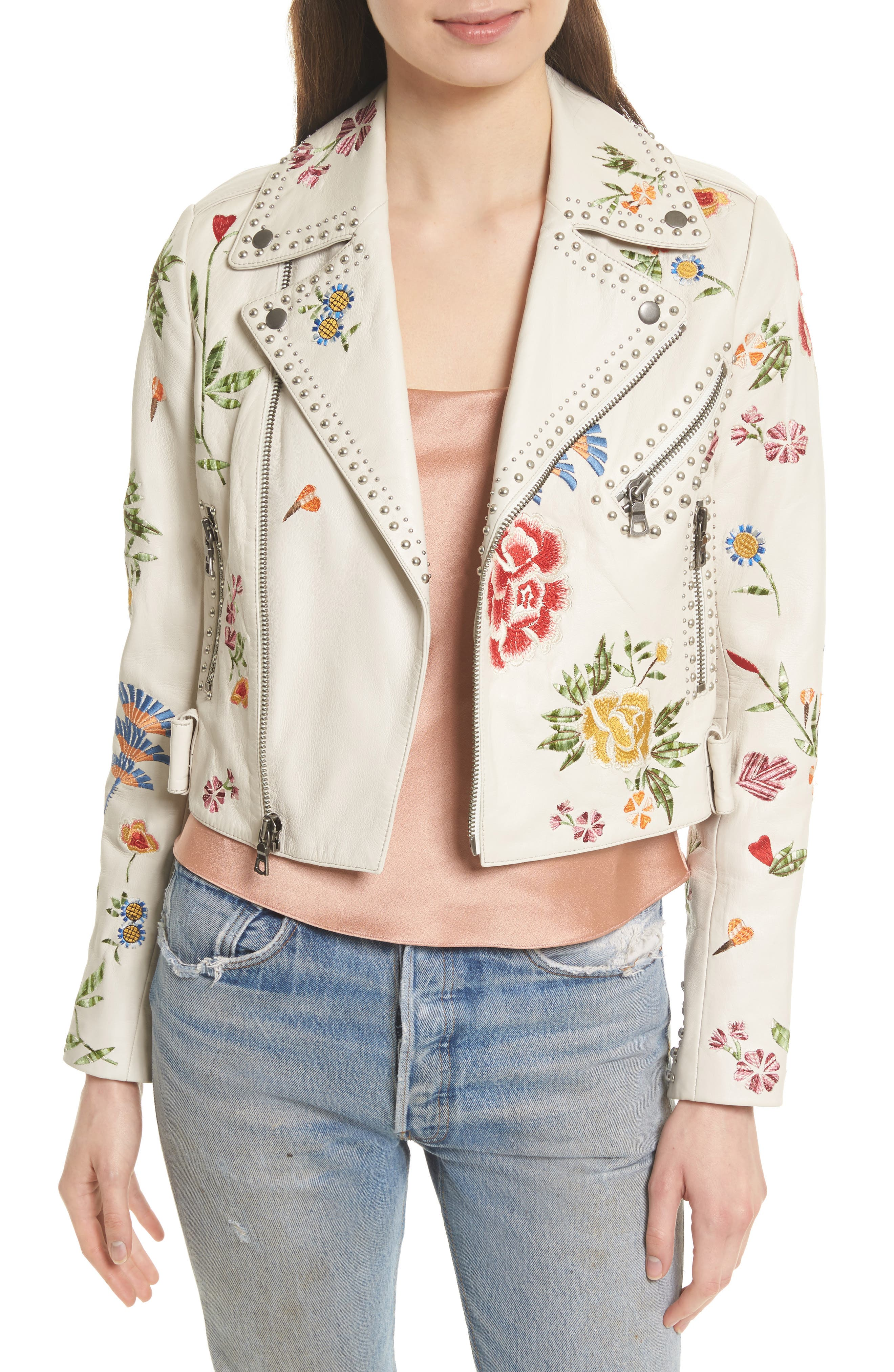 Cody Embroidered Crop Leather Jacket,                         Main,                         color, Cream/ Multi