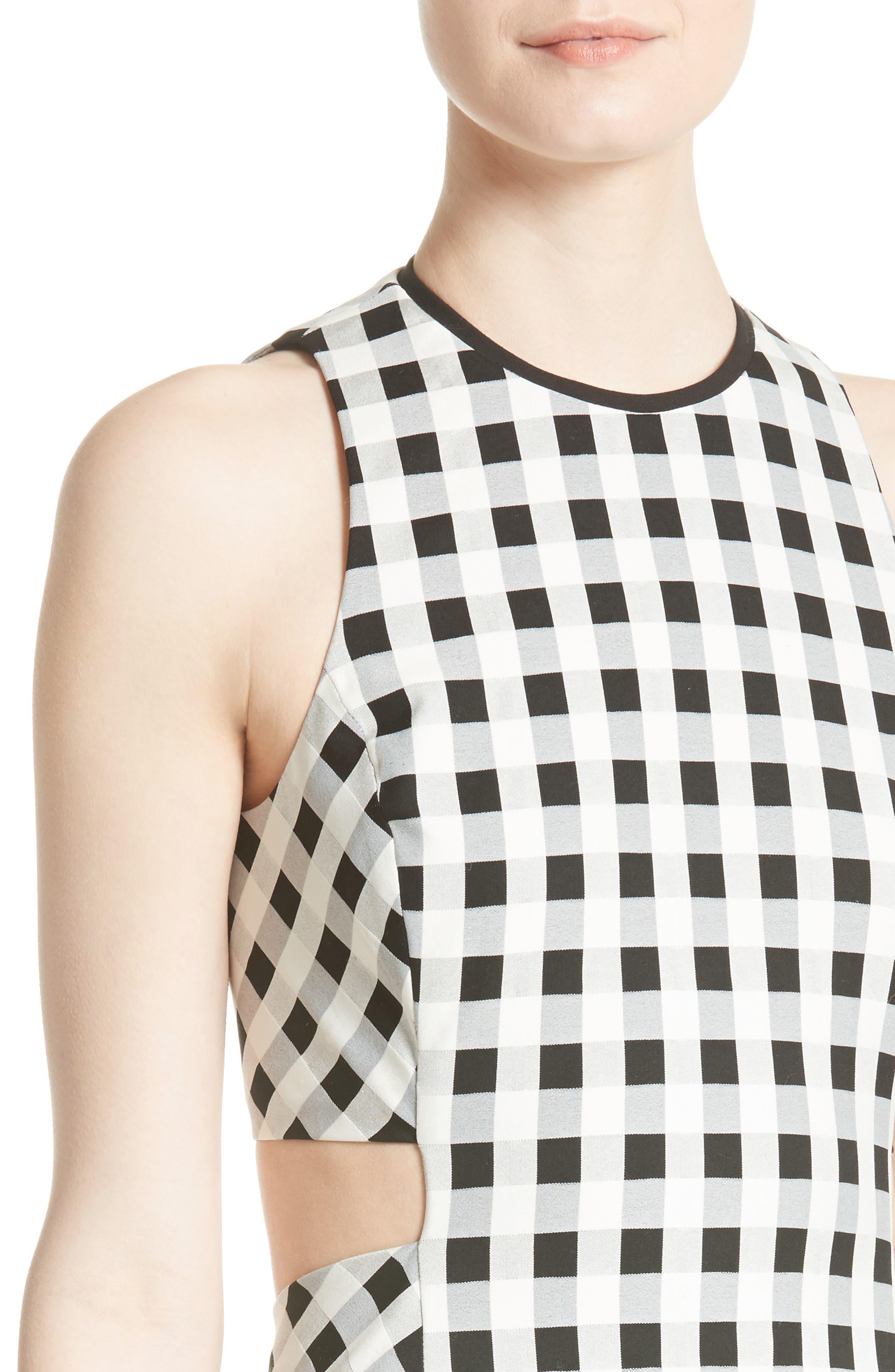 Tahoe Gingham Dress,                             Alternate thumbnail 4, color,                             Black/ White