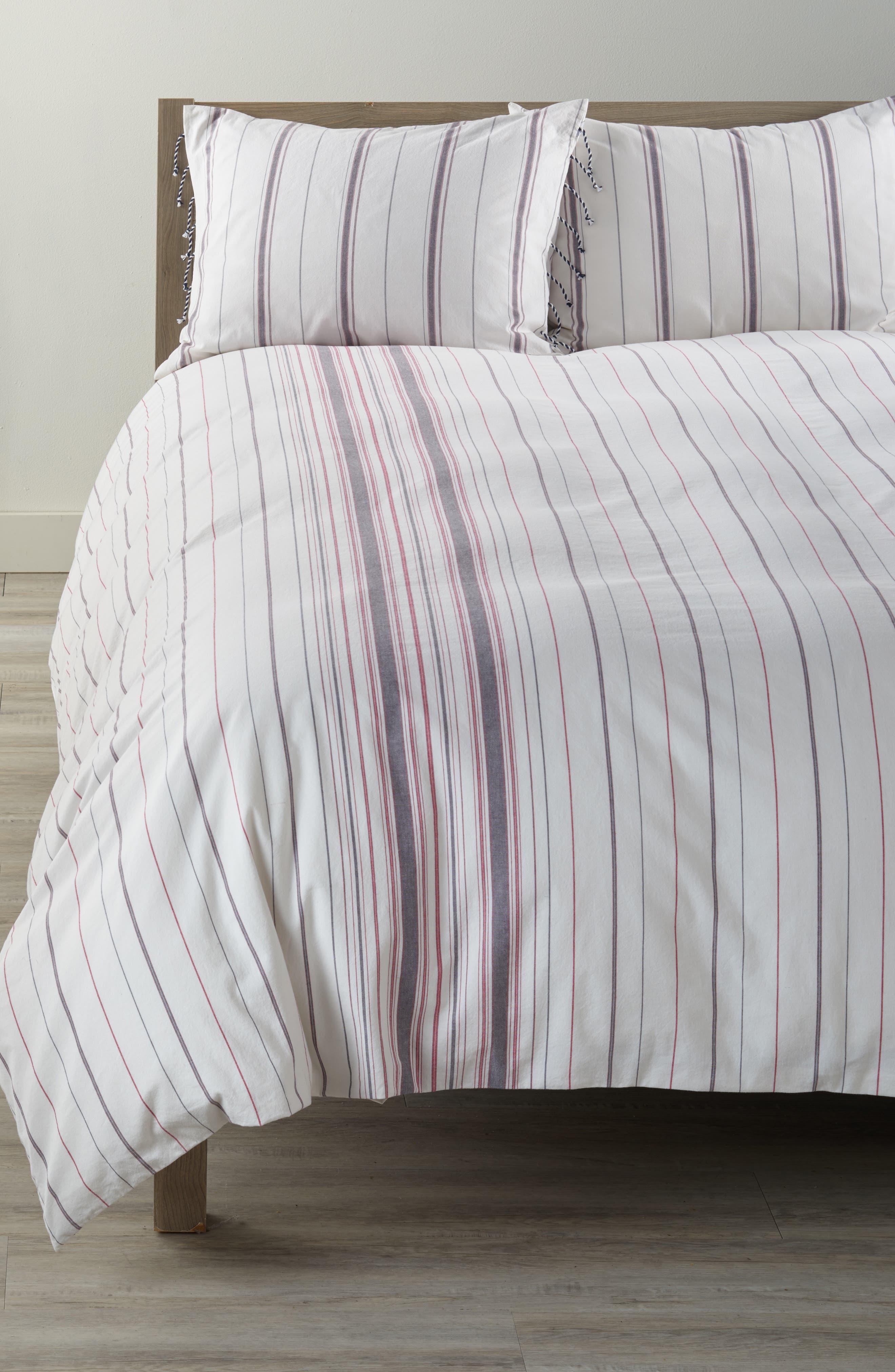 Mixed Stripe Duvet Cover,                         Main,                         color, Ivory/ Multi