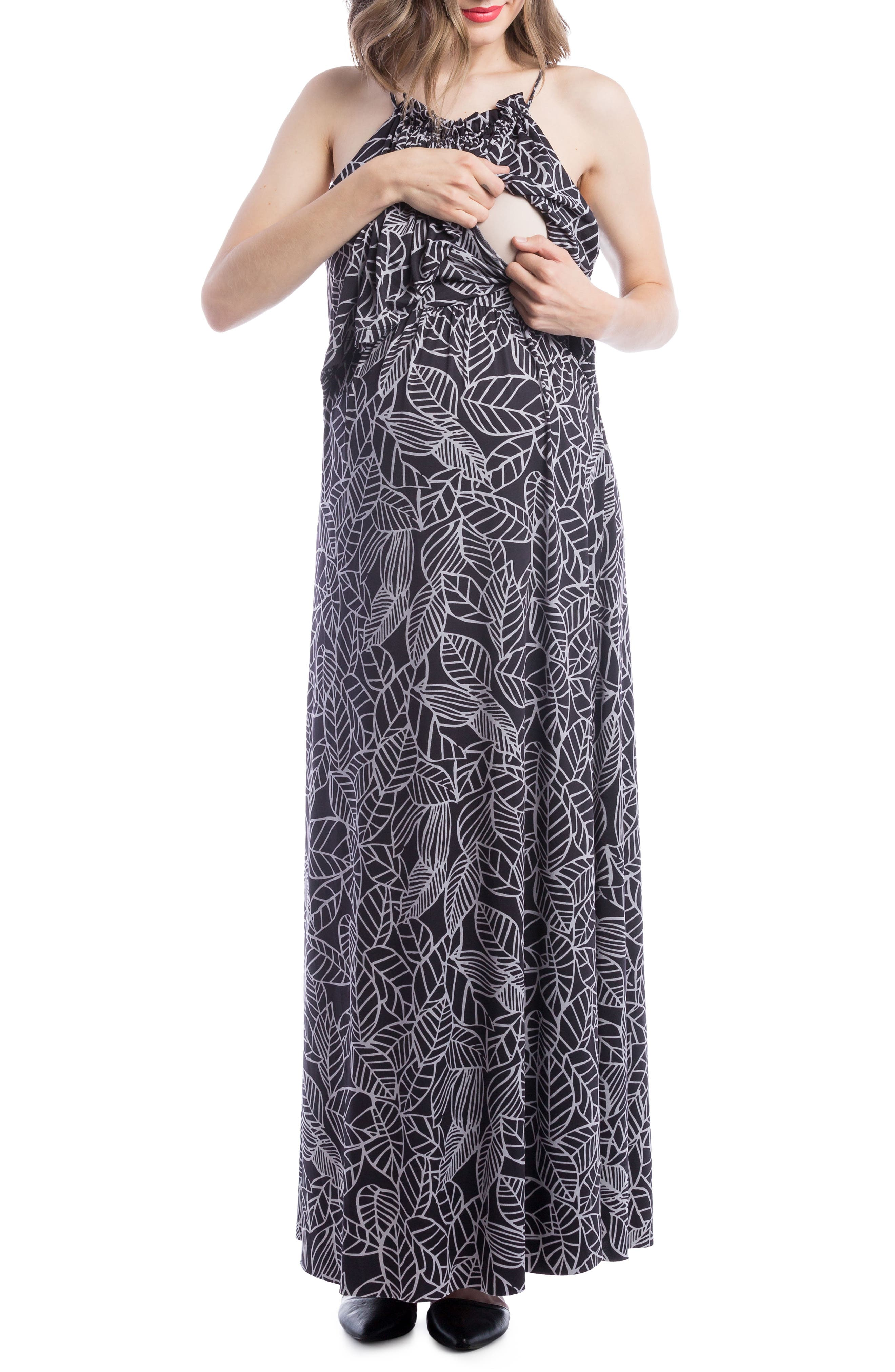 Maternity/Nursing Maxi Dress,                             Alternate thumbnail 3, color,                             Black/ Grey Leaf