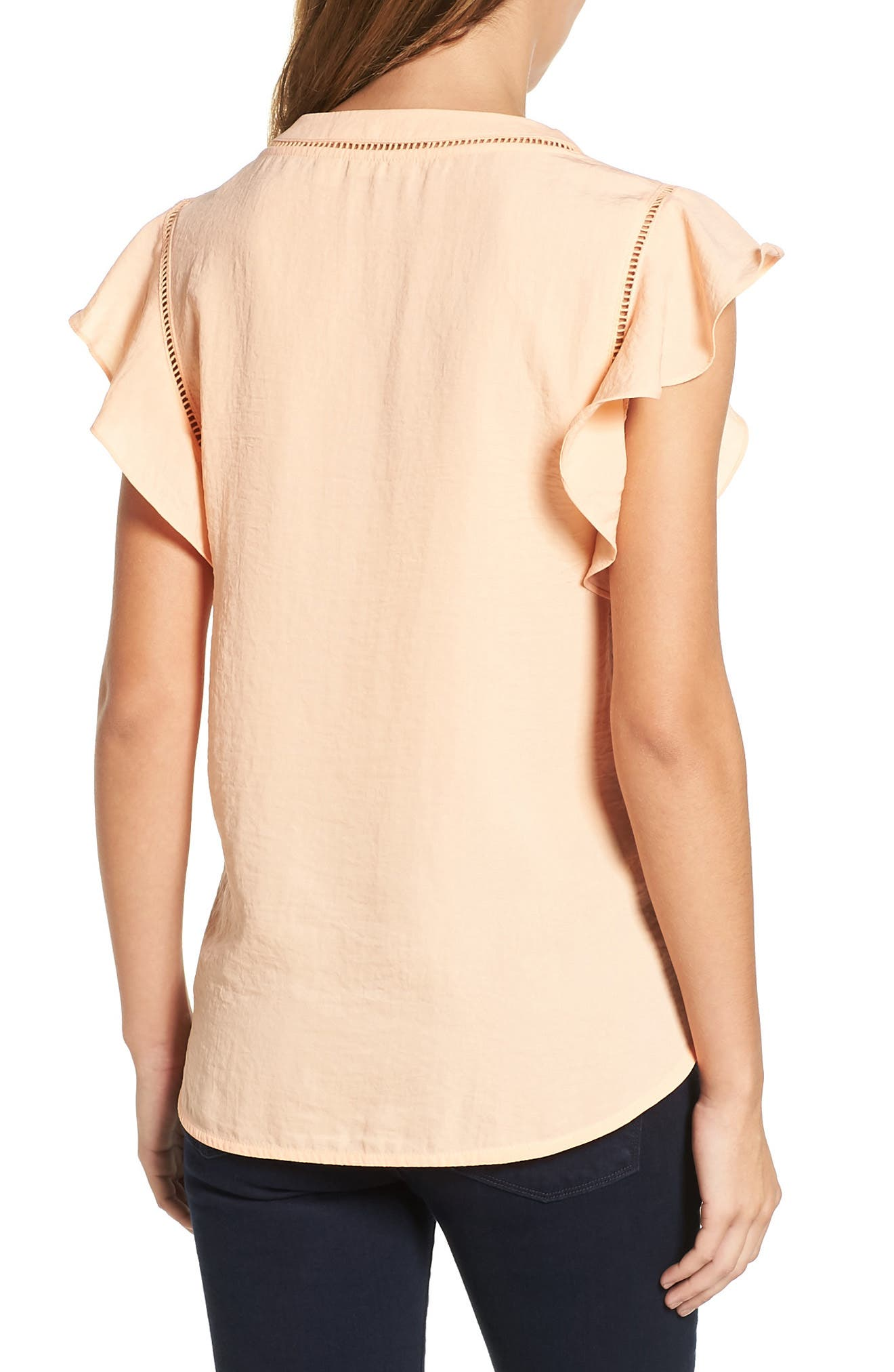 Alternate Image 2  - Halogen® Flutter Sleeve Top (Regular & Petite)