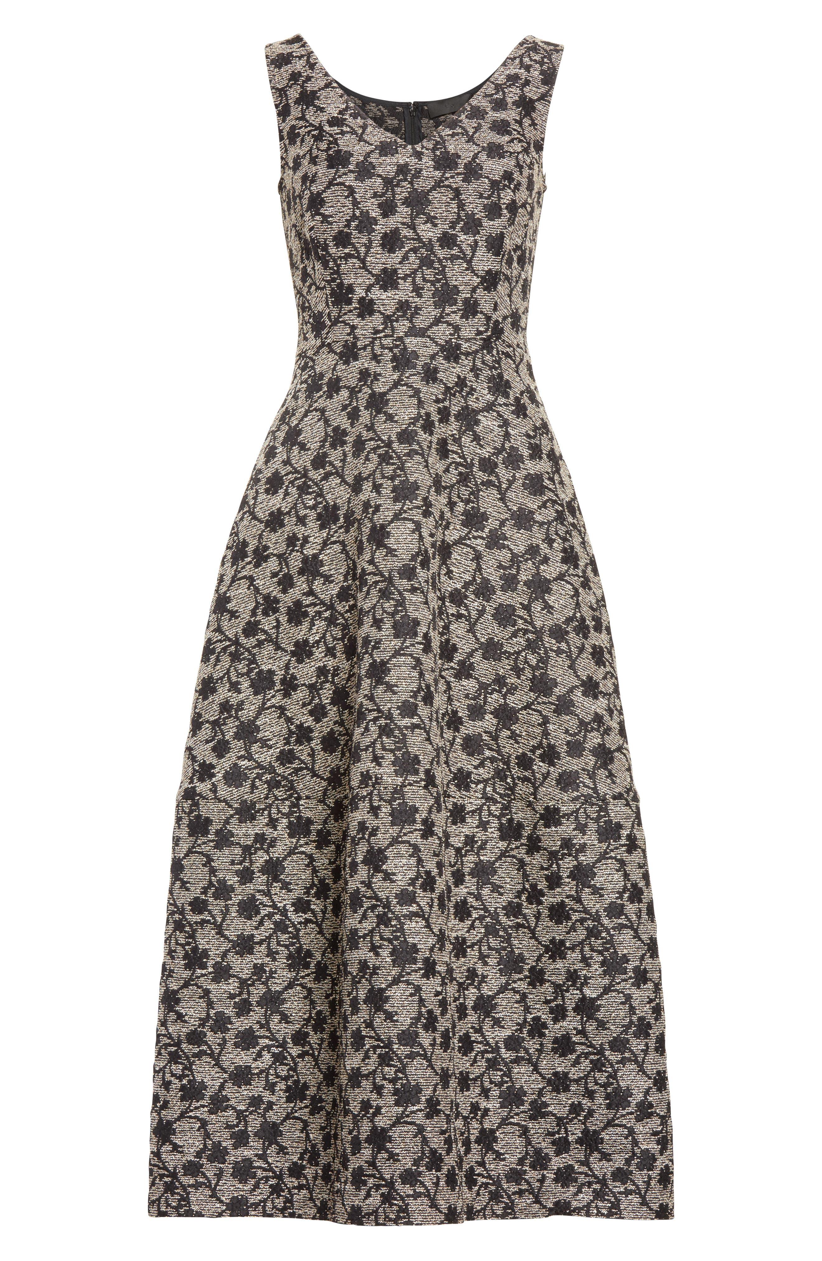 Floral Jacquard Midi Dress,                             Alternate thumbnail 4, color,                             Black/ Gold