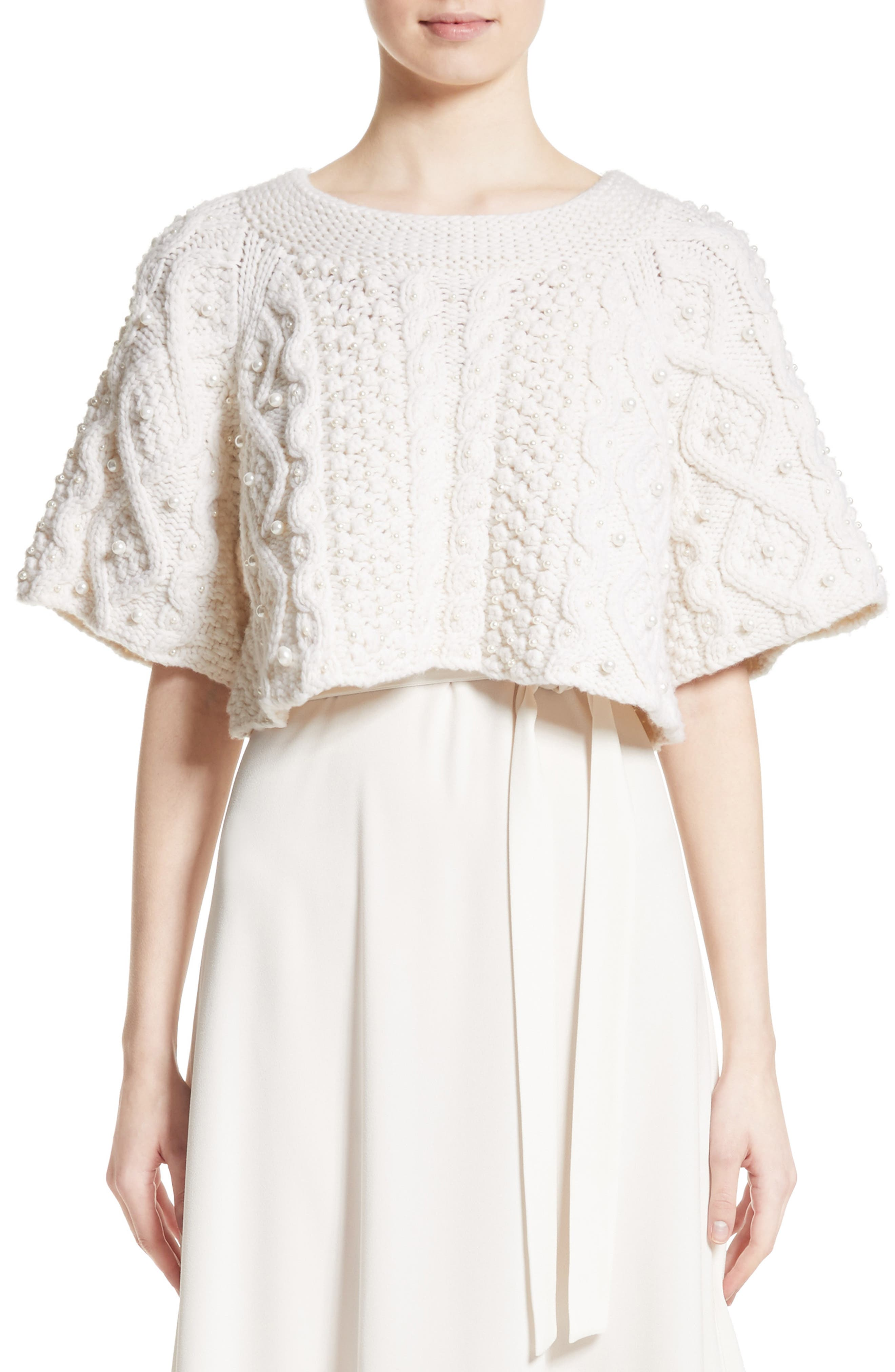 Cable Knit Wool & Cashmere Crop Sweater,                             Main thumbnail 1, color,                             Ivory