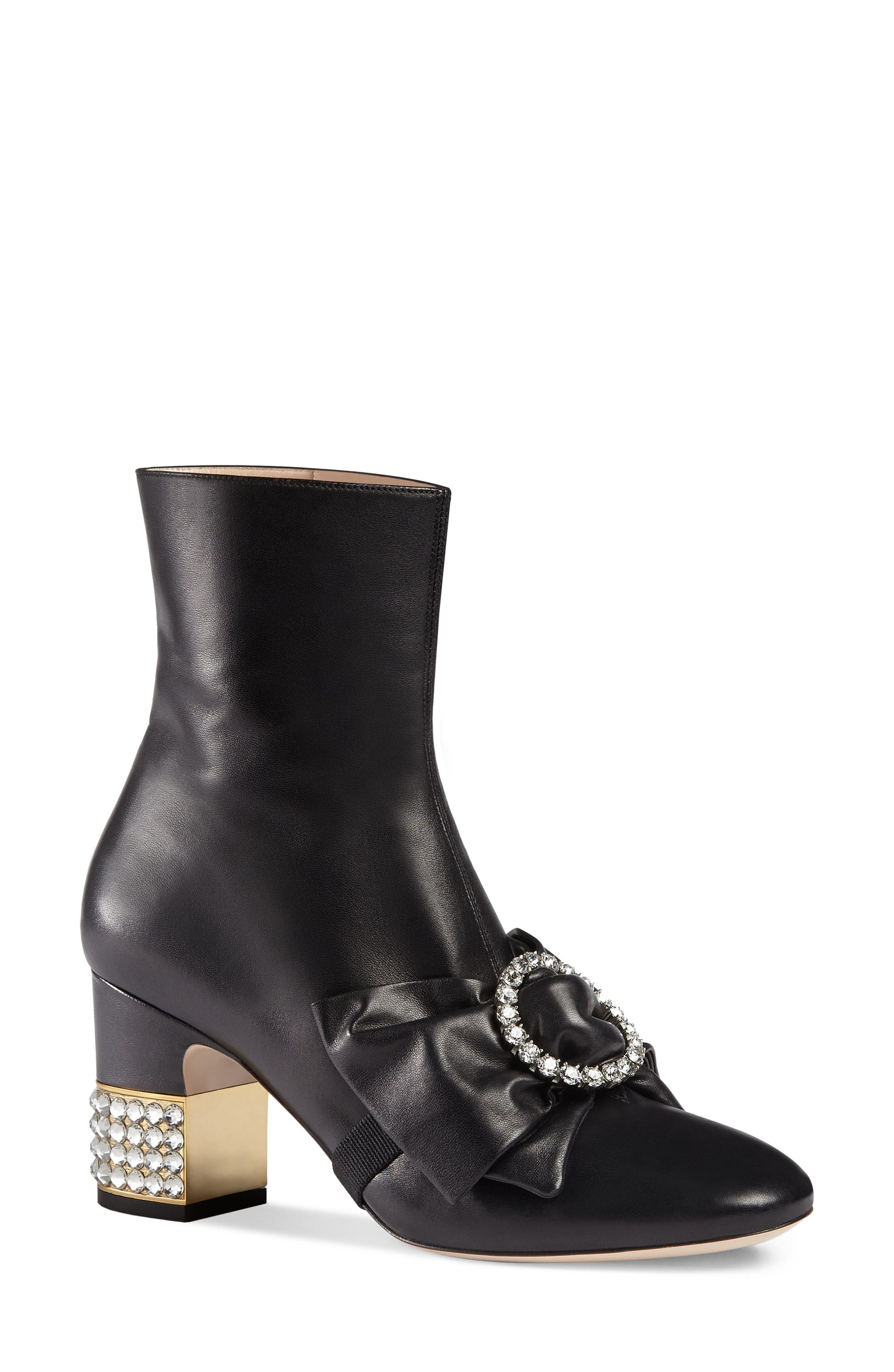 Main Image - Gucci Candy Bow Crystal Bootie (Women)