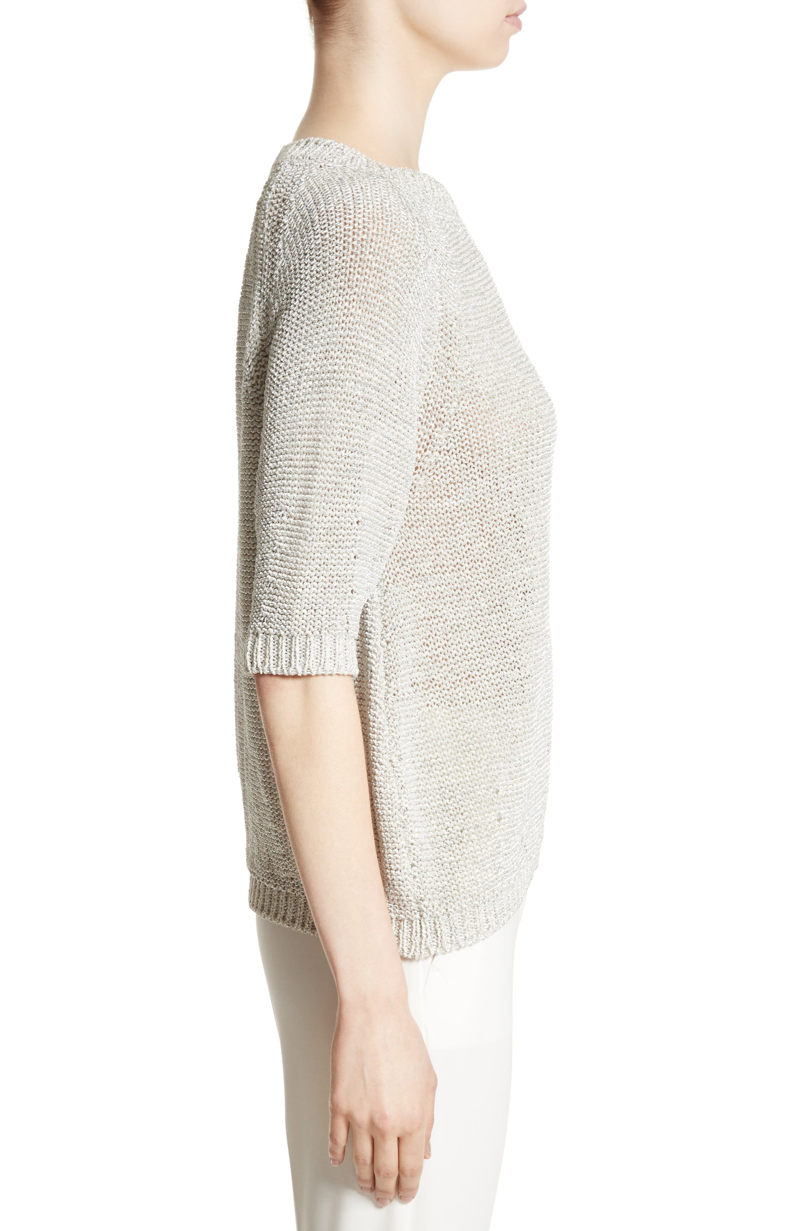 Cotton Blend Sweater,                             Alternate thumbnail 5, color,                             White