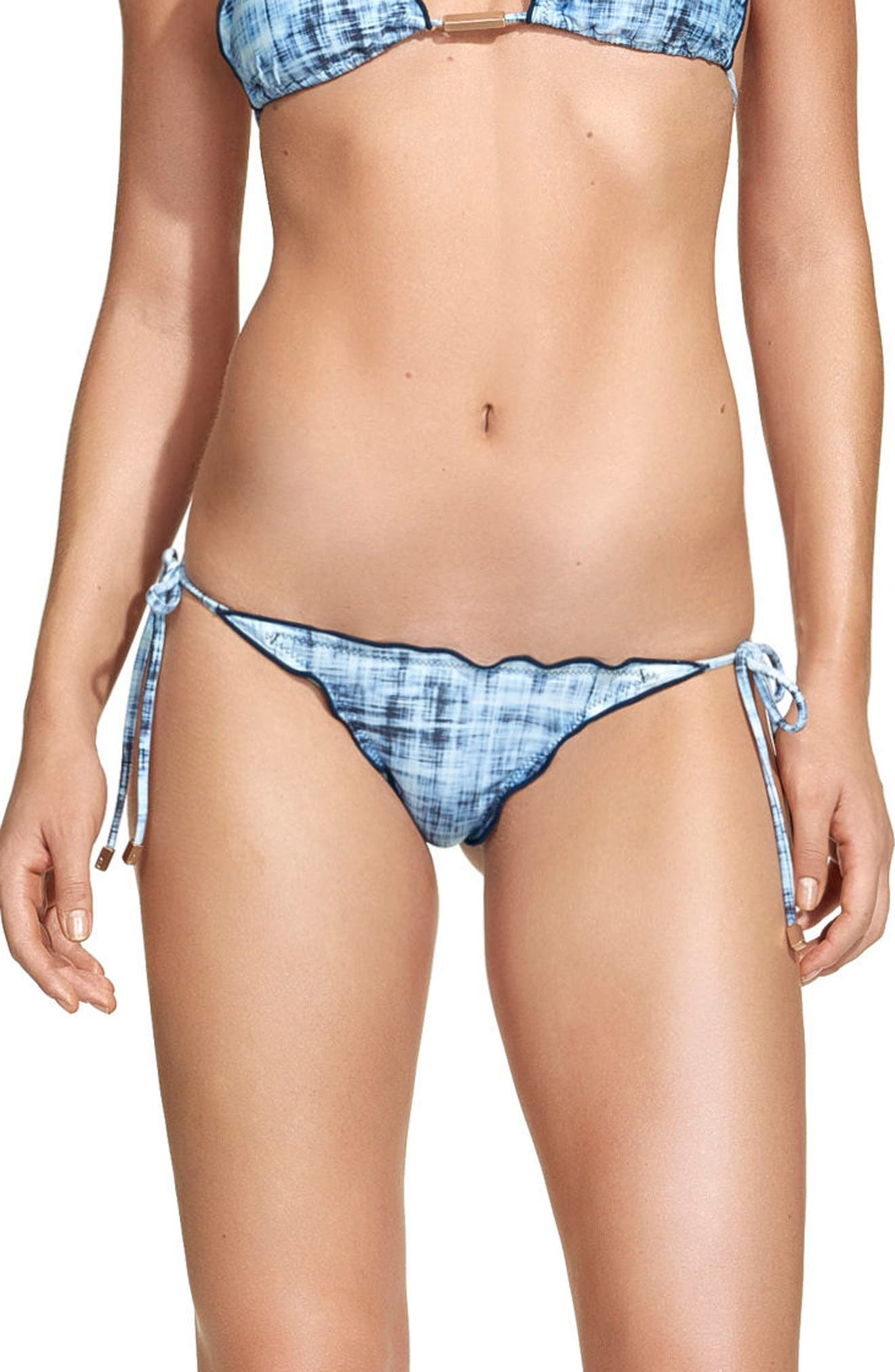 Rustic Ripple Side Tie Bikini Bottoms,                             Alternate thumbnail 2, color,                             Blue