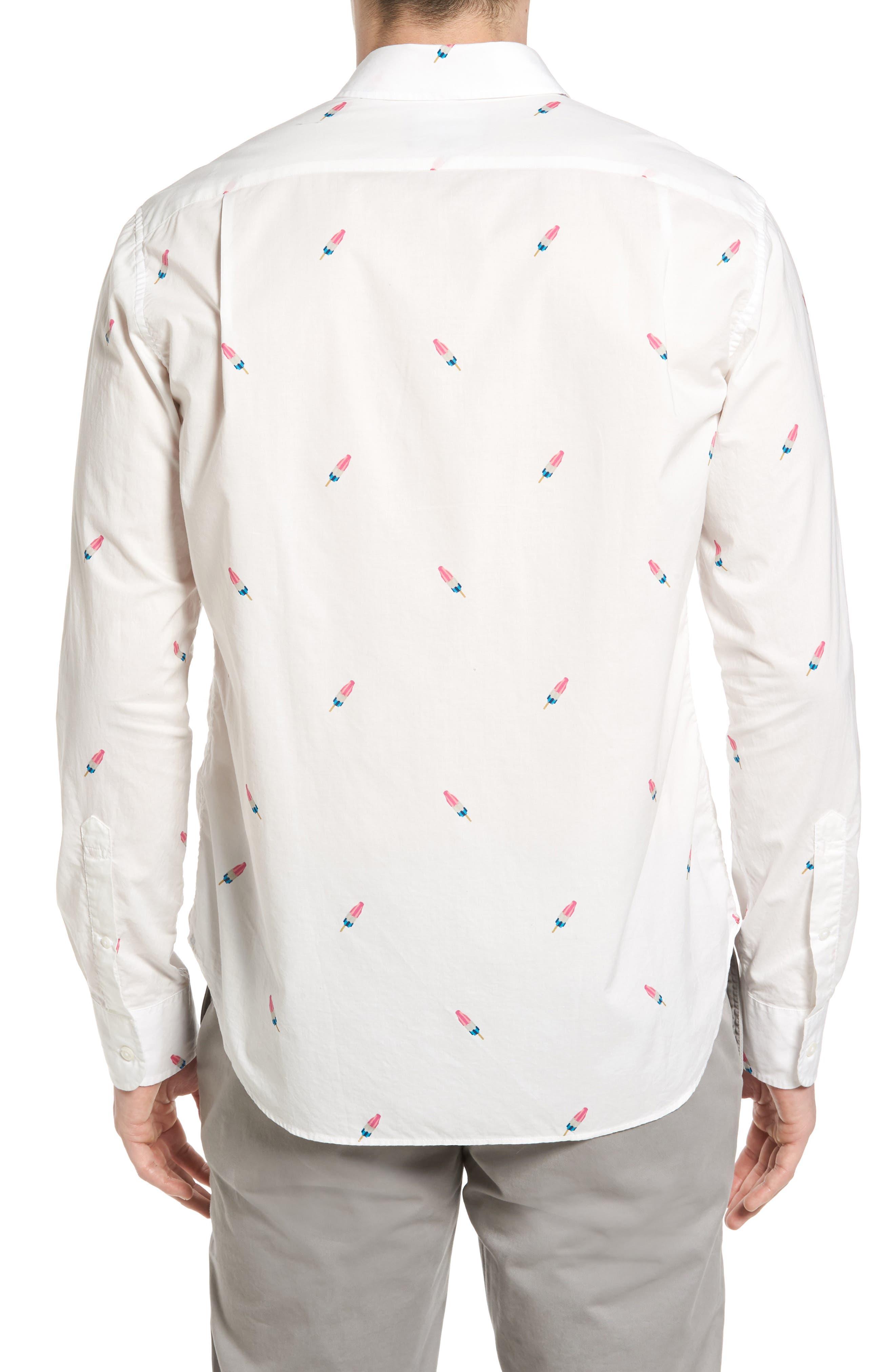 Summerweight Slim Fit Print Sport Shirt,                             Alternate thumbnail 2, color,                             Popsicle Print White