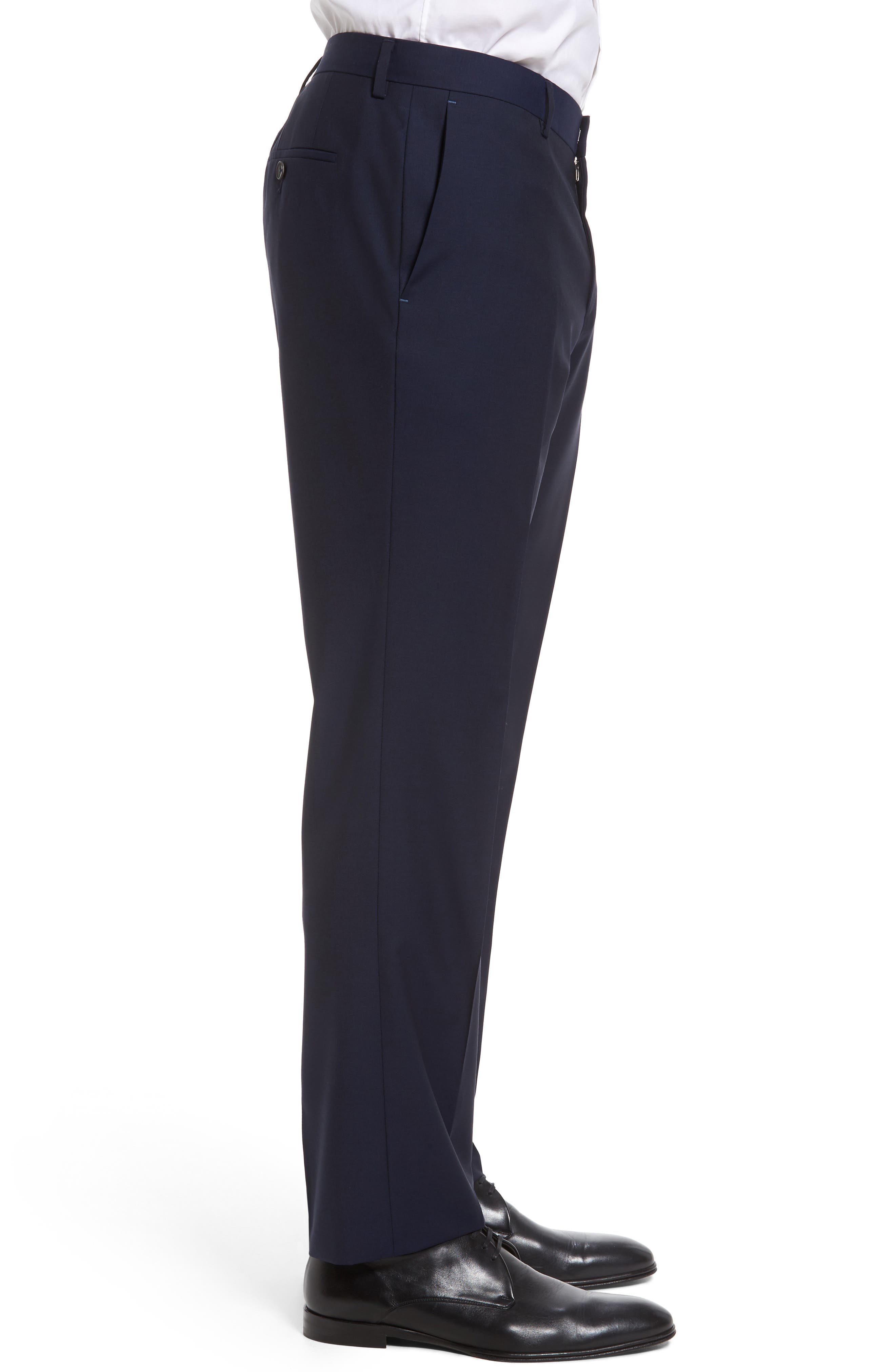 Genesis Flat Front Trim Fit Solid Wool Trousers,                             Alternate thumbnail 3, color,                             Navy