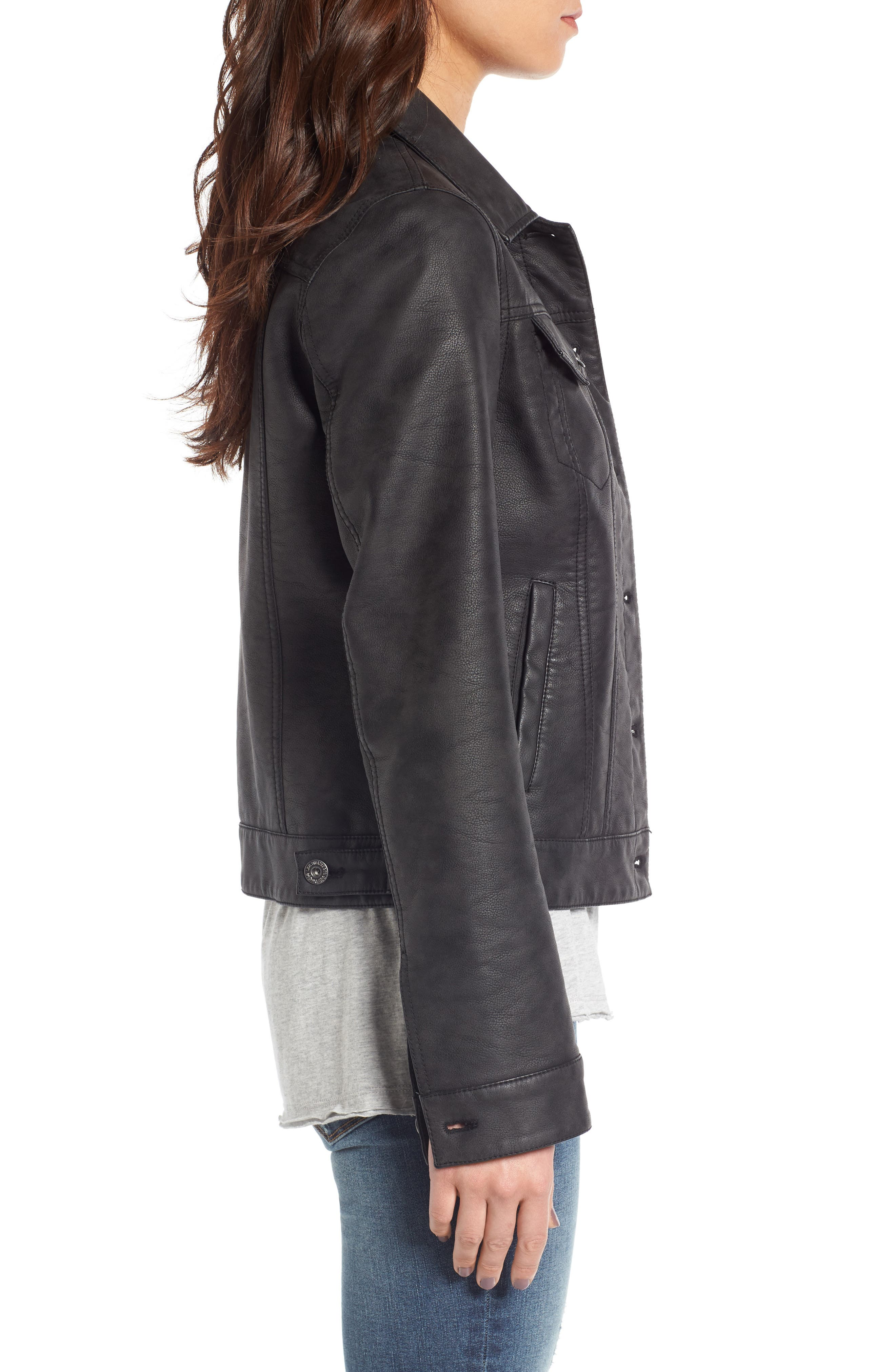 Faux Leather Trucker Jacket,                             Alternate thumbnail 3, color,                             Black