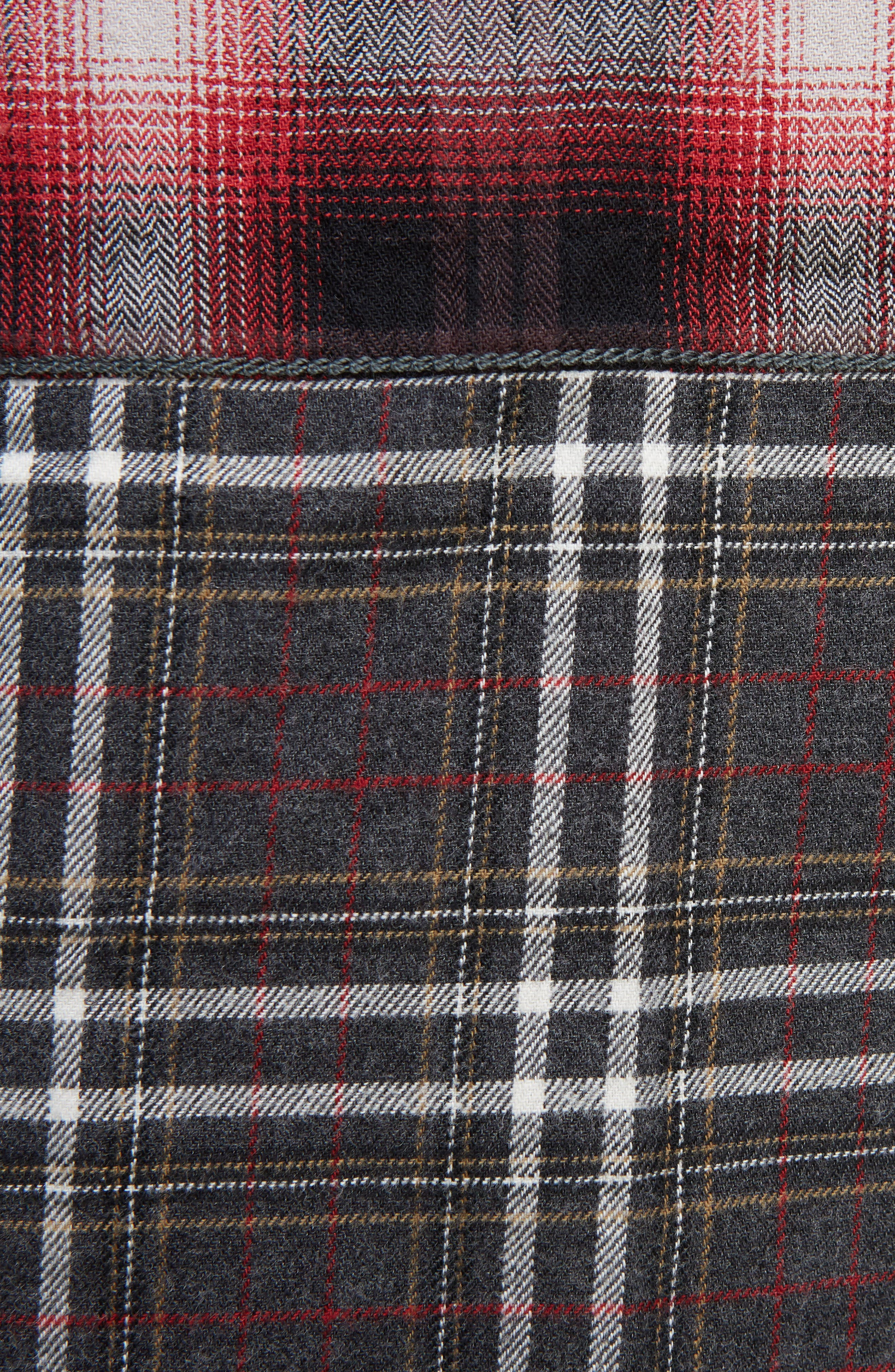 Pieced Plaid Flannel Shirt,                             Alternate thumbnail 5, color,                             Grey/ Red