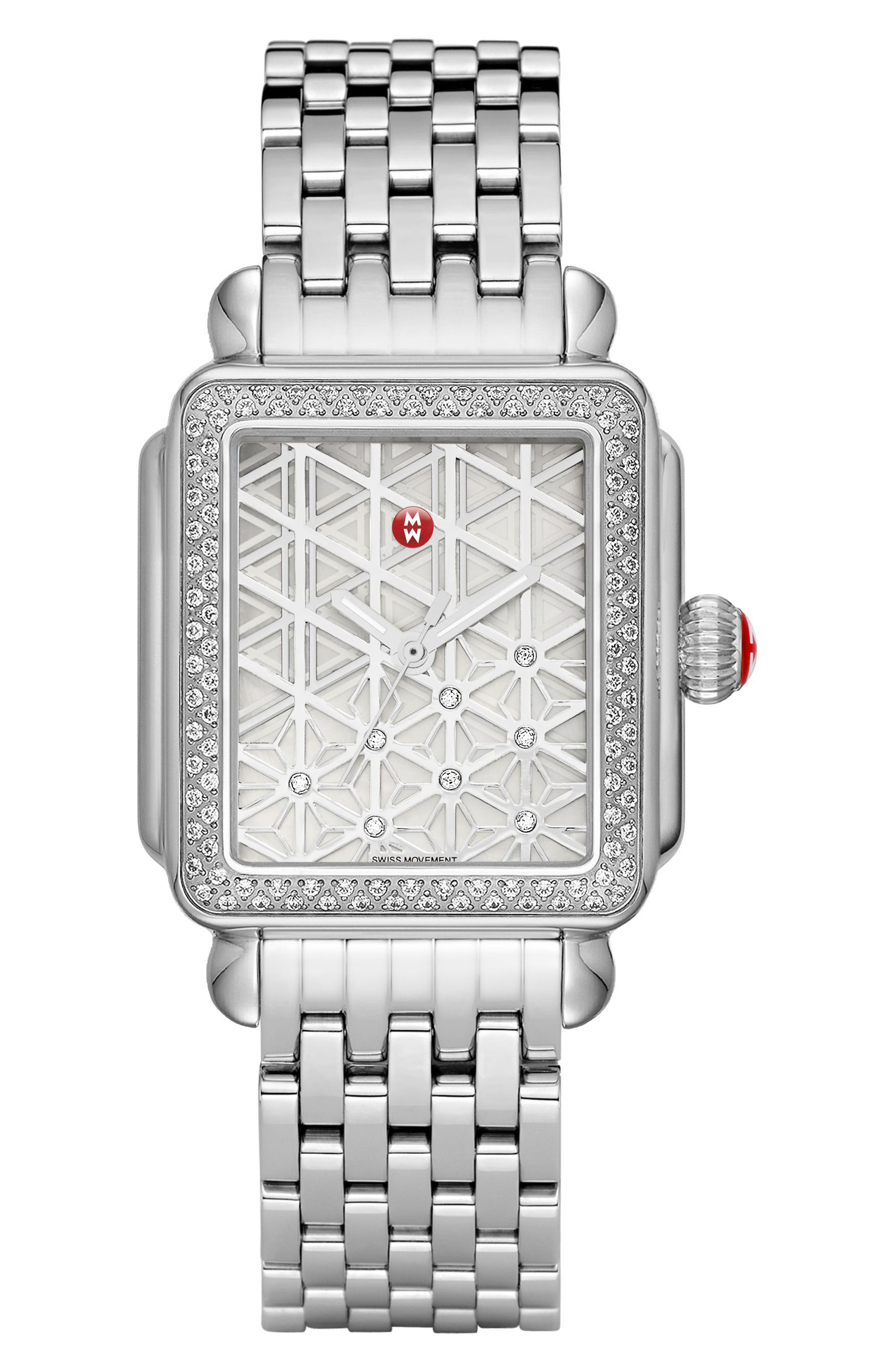 Deco Diamond Diamond Dial Watch Case, 33mm x 35mm,                             Alternate thumbnail 2, color,                             Silver/ Mother Of Pearl