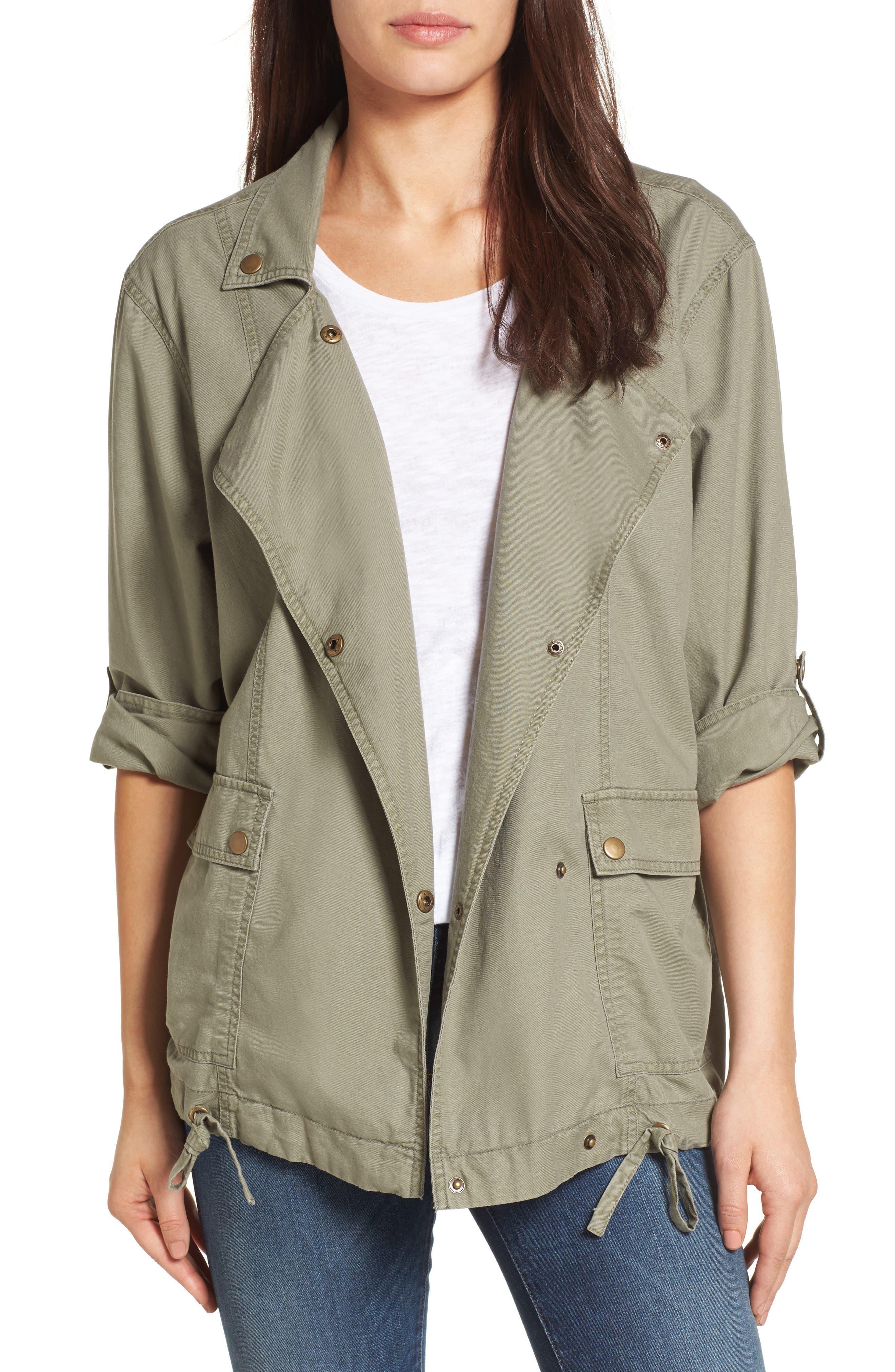 Main Image - Caslon® Roll Sleeve Utility Jacket (Regular & Petite)