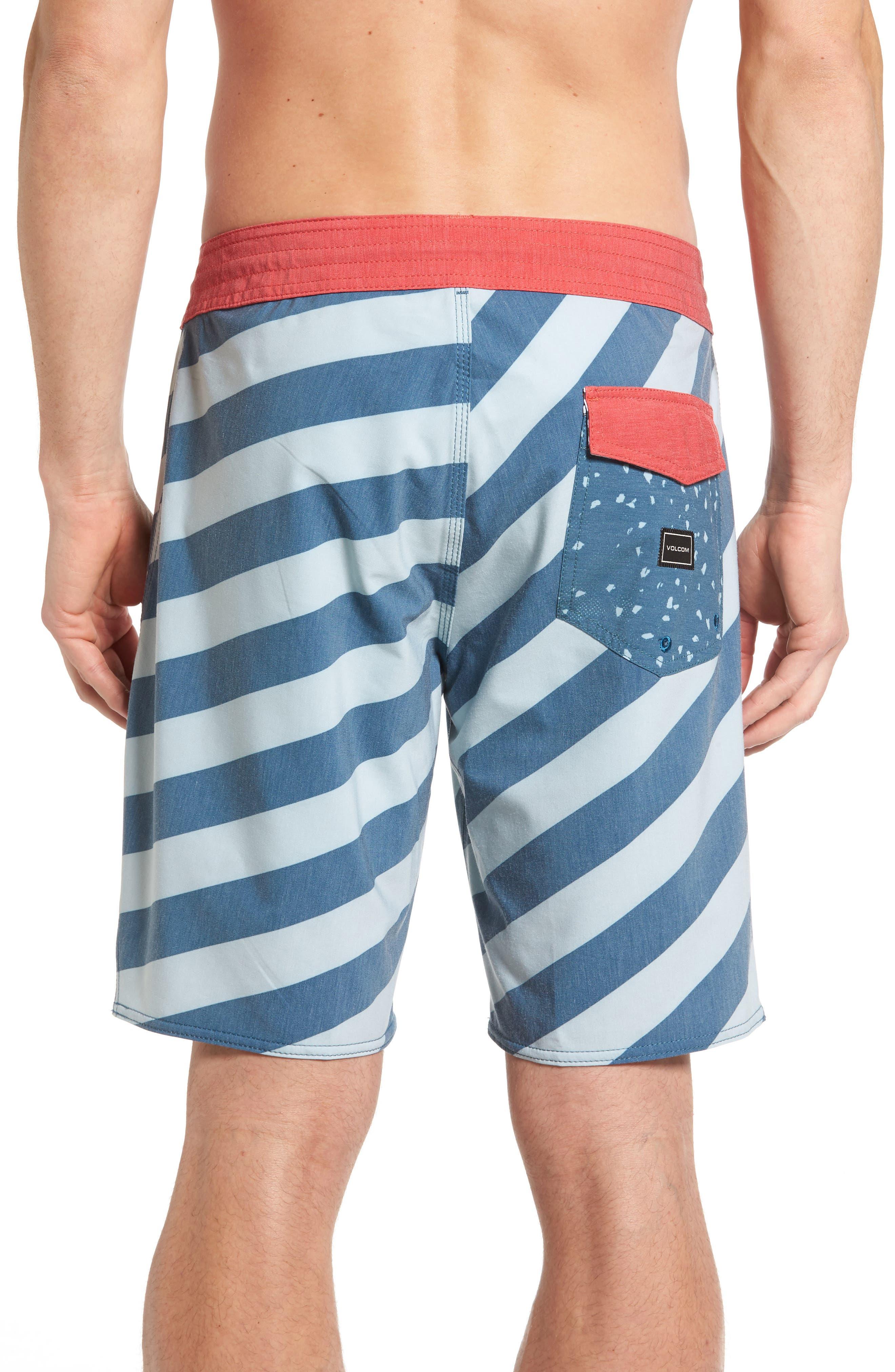 Stripey Slinger Board Shorts,                             Alternate thumbnail 2, color,                             Flight Blue