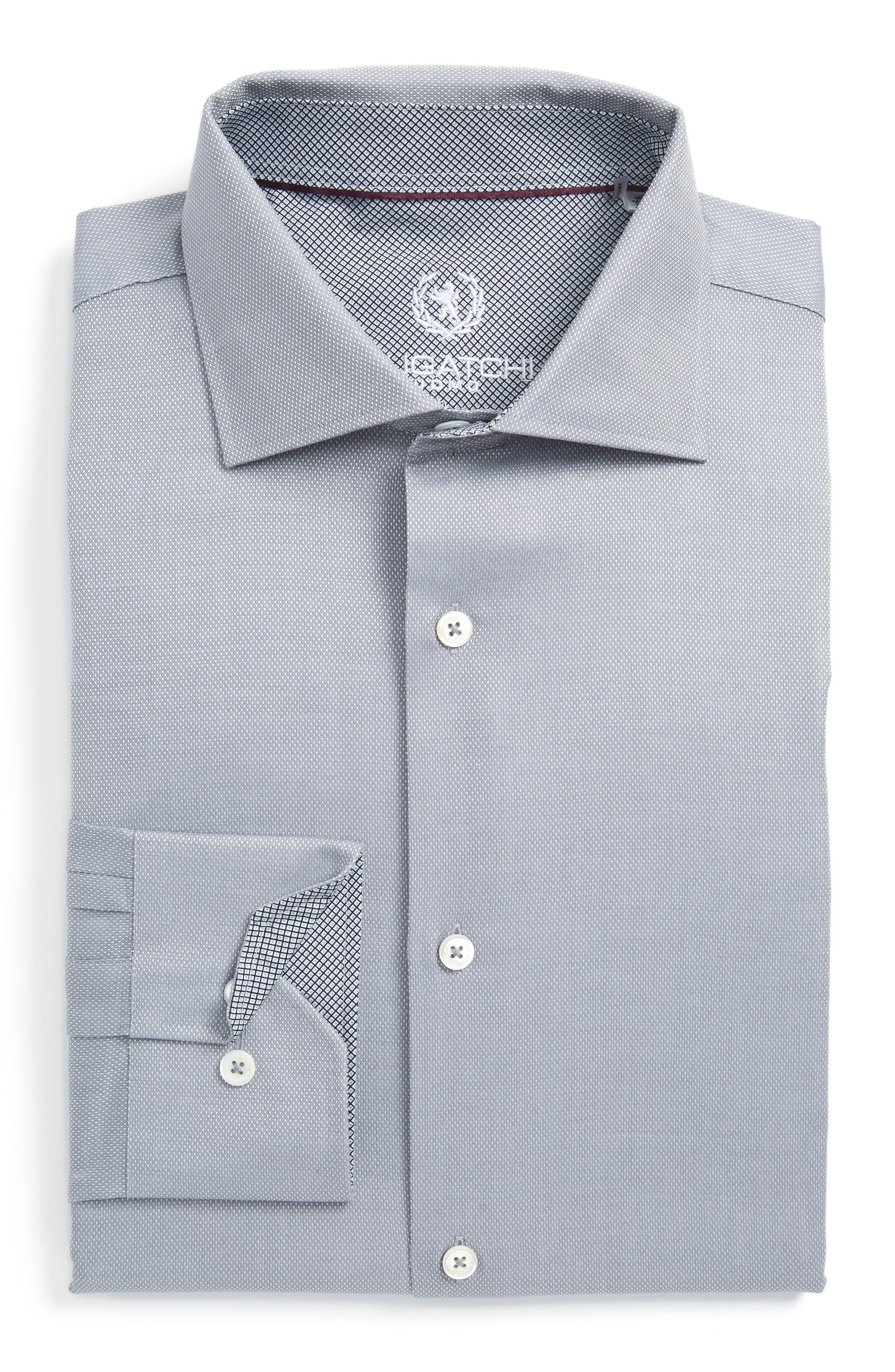 Trim Fit Solid Dress Shirt,                             Main thumbnail 1, color,                             Platinum