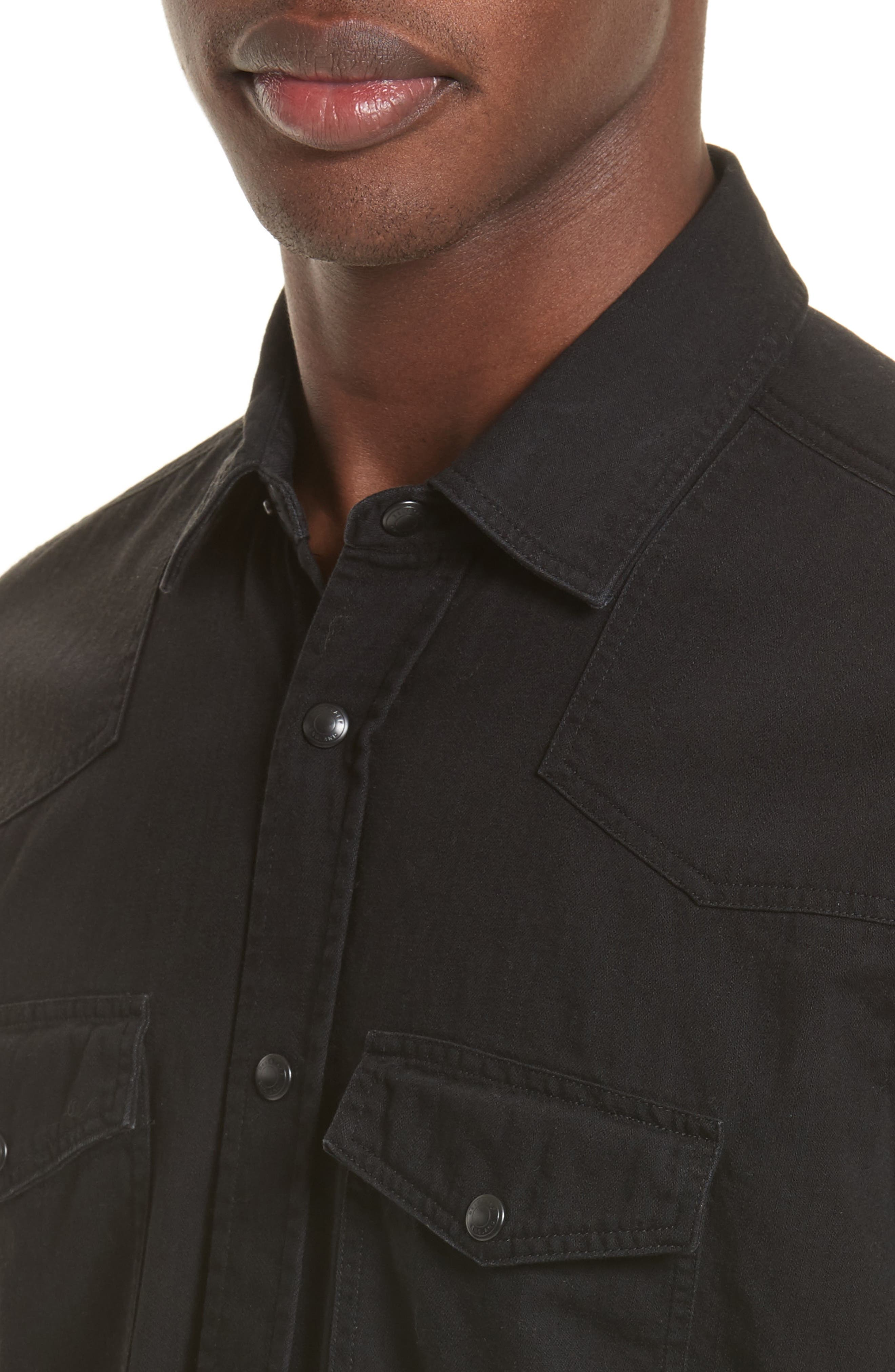 Somerford Extra Trim Fit Denim Shirt,                             Alternate thumbnail 4, color,                             Black