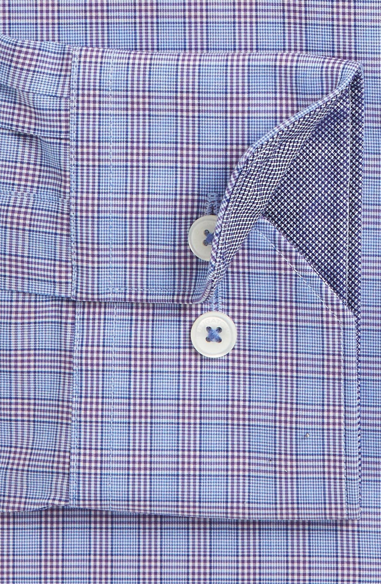 Trim Fit Plaid Dress Shirt,                             Alternate thumbnail 2, color,                             Classic Blue