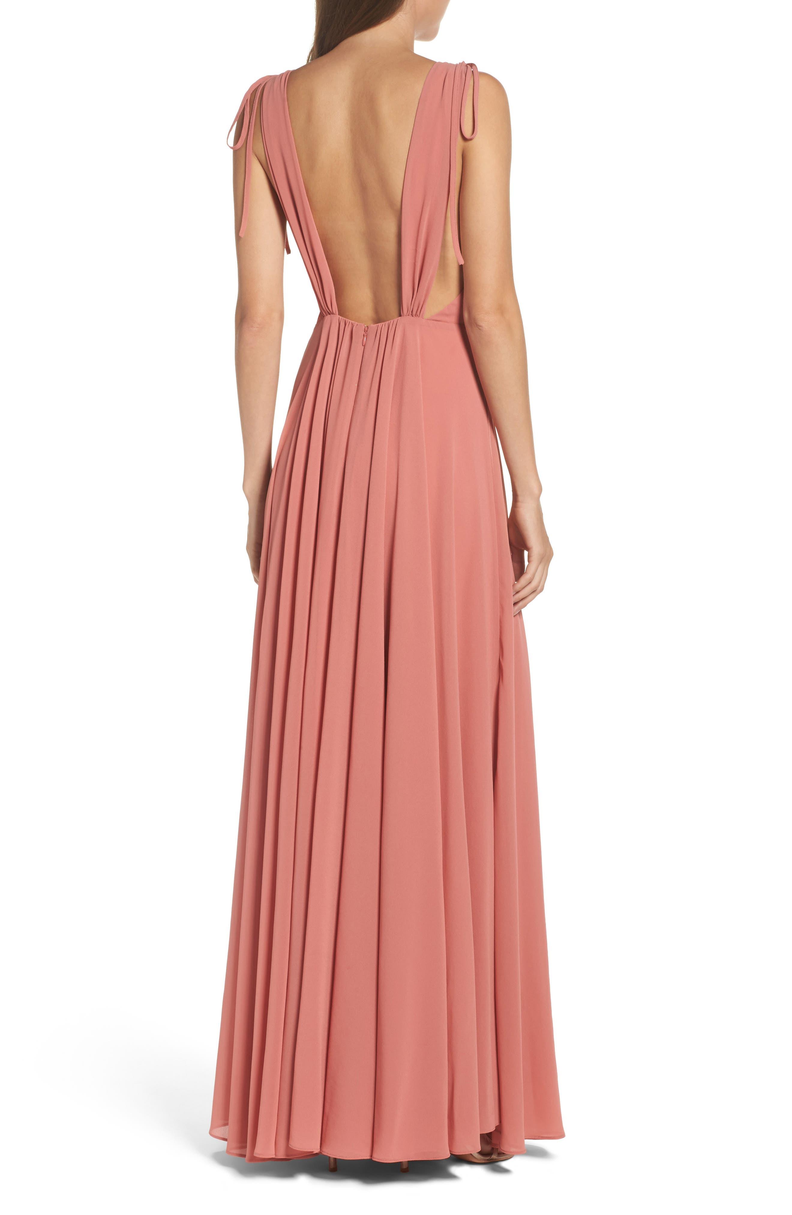 Alternate Image 2  - Lulus V-Neck Chiffon Gown