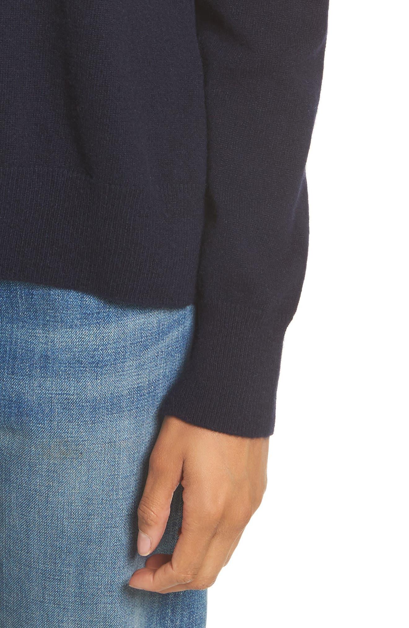 Cashmere Step Hem Sweater,                             Alternate thumbnail 4, color,                             Coastal