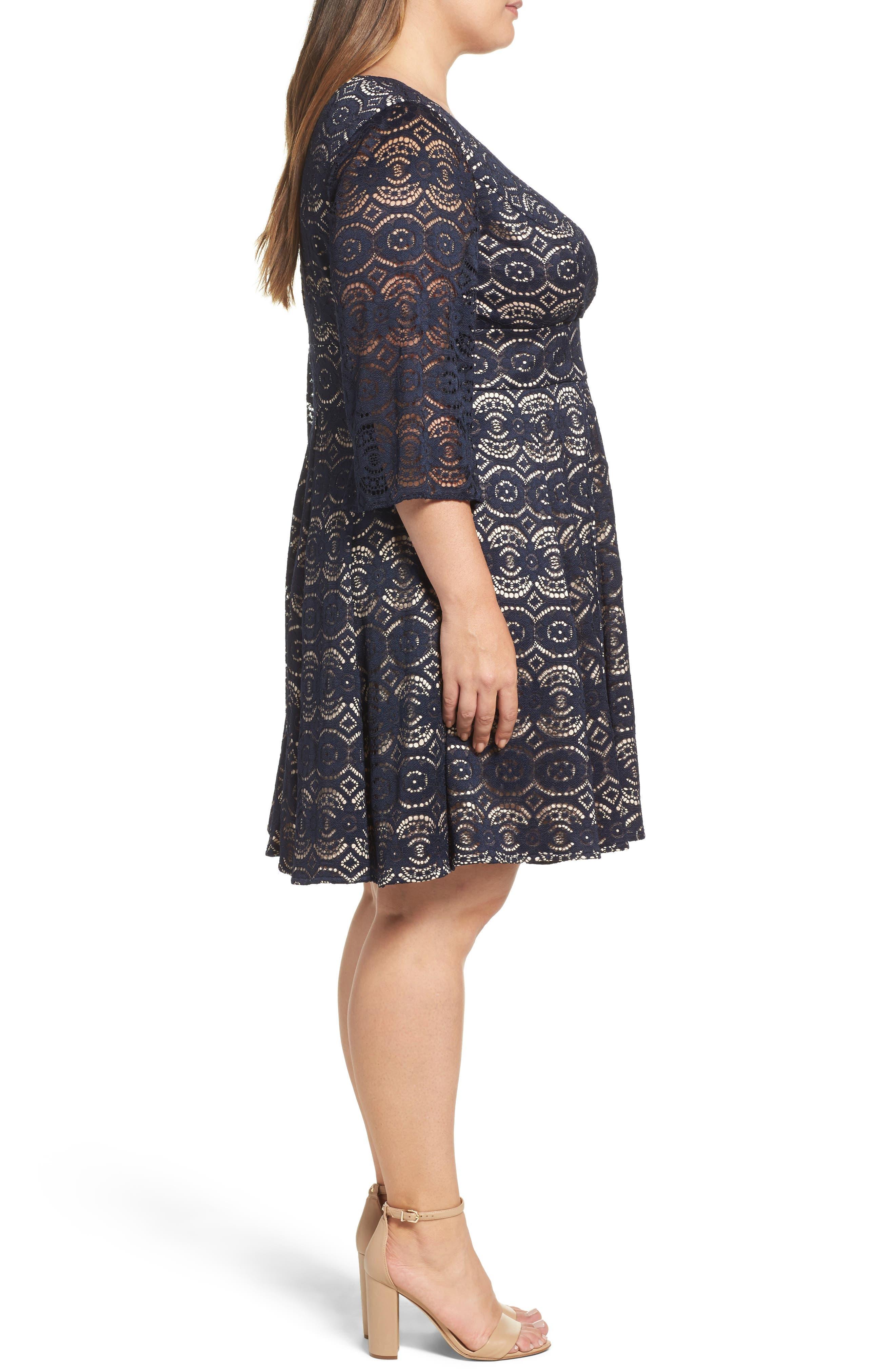 Alternate Image 3  - Eliza J Bell Sleeve Lace Fit & Flare Dress (Plus Size)