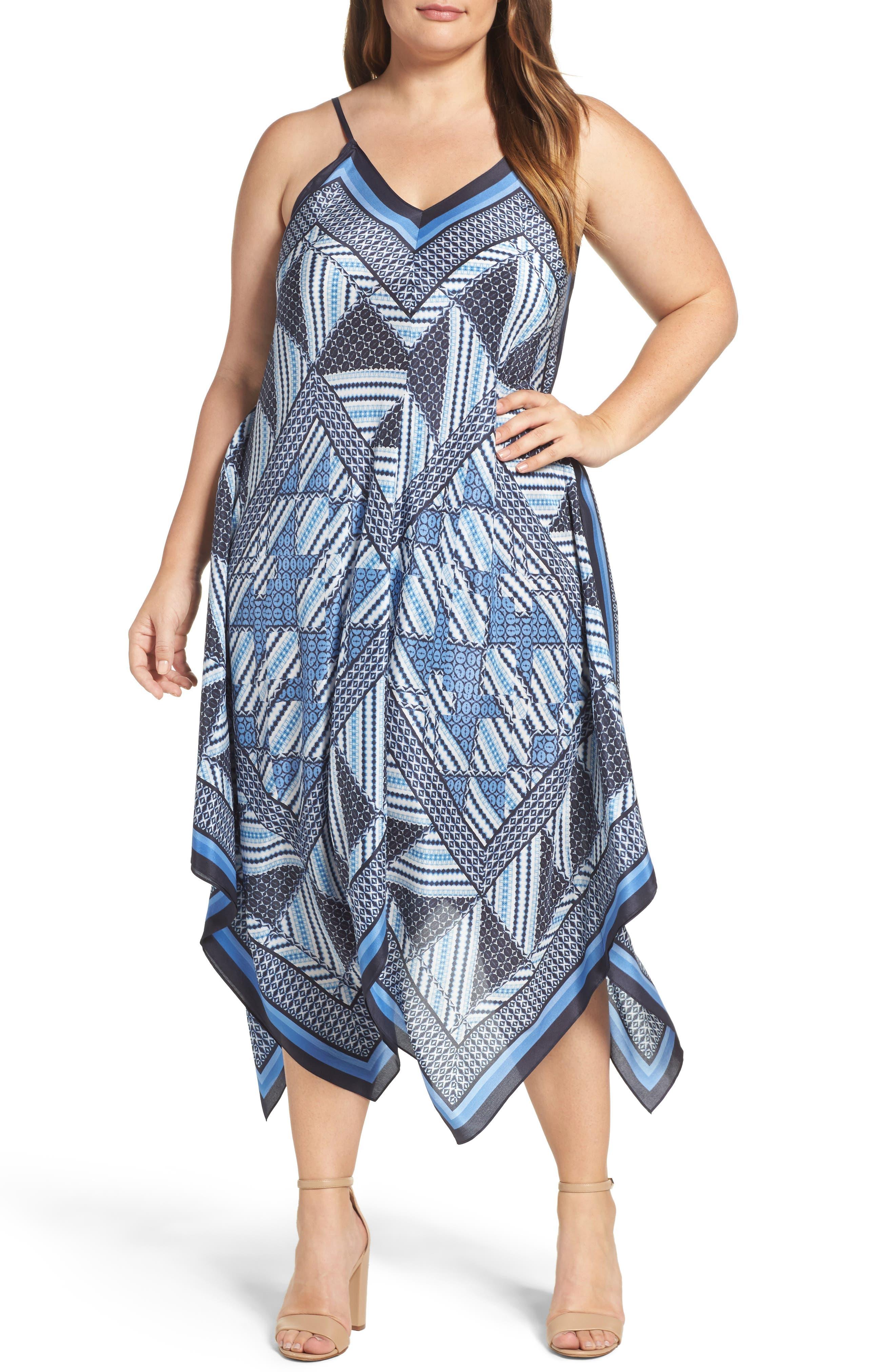 Calypso Handkerchief Hem Sundress,                             Main thumbnail 1, color,                             Multi