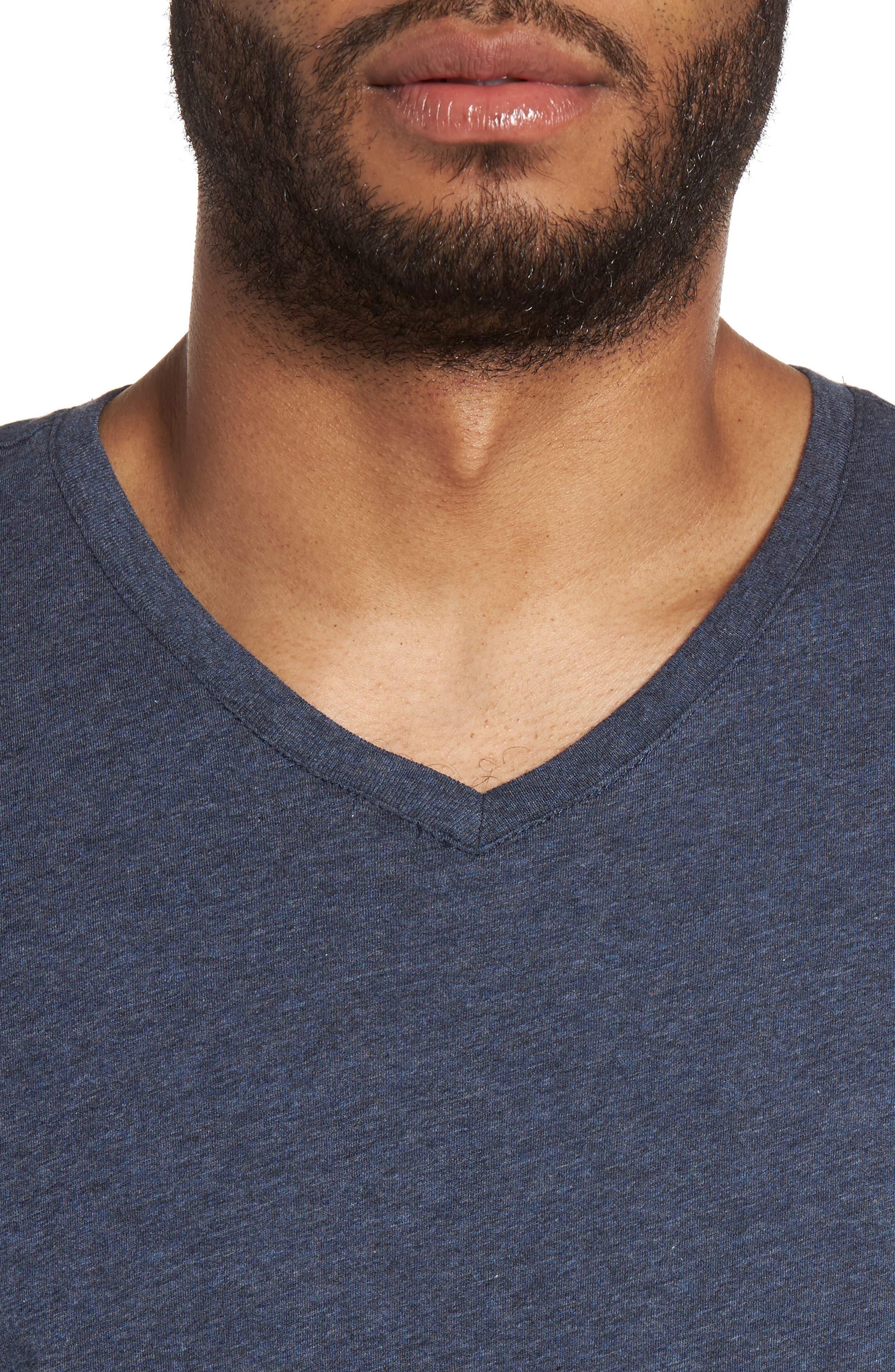 Slim V-Neck T-Shirt,                             Alternate thumbnail 4, color,                             Heather Navy