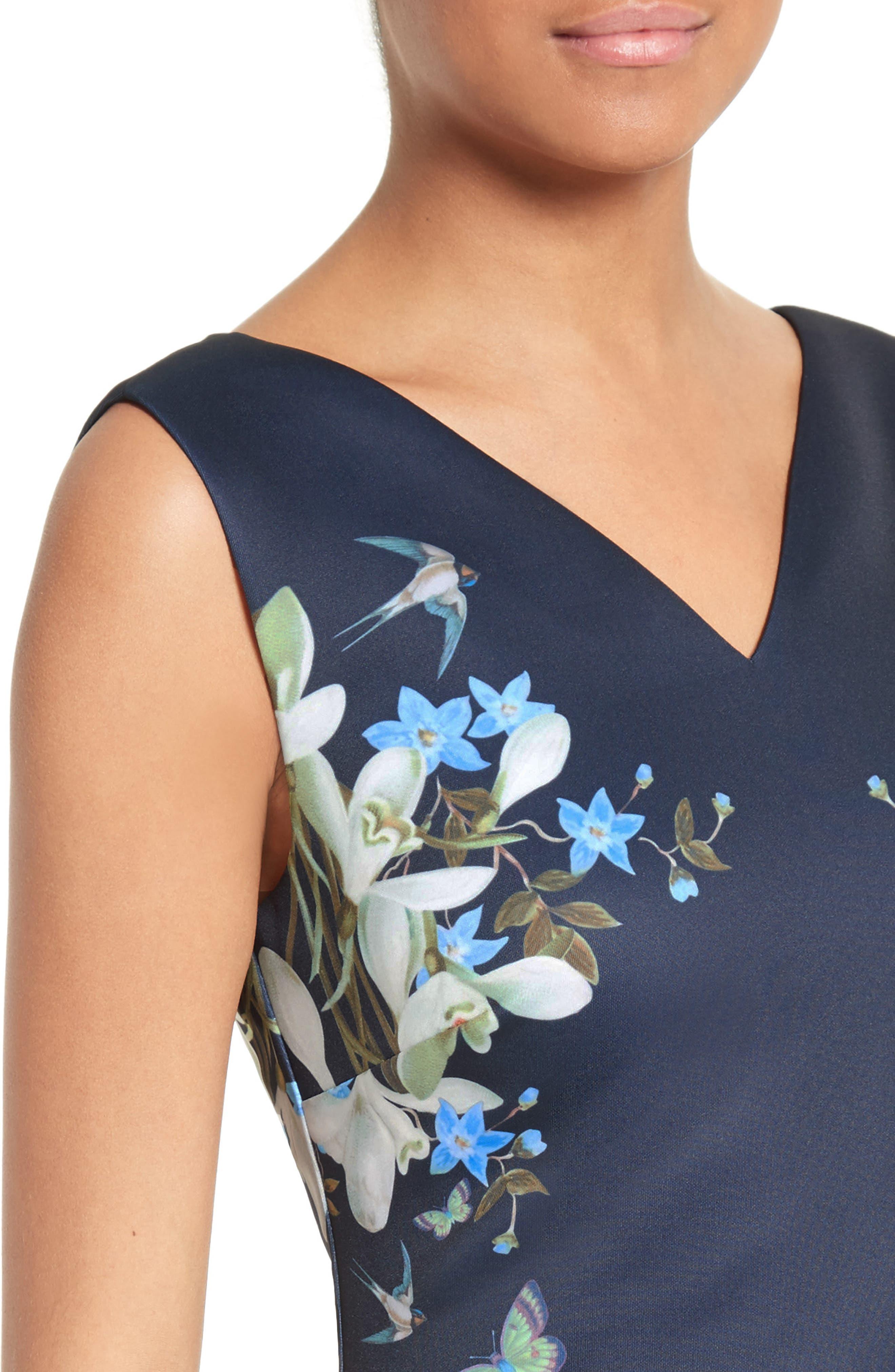 Katiey Placed Print Sheath Dress,                             Alternate thumbnail 4, color,                             Dark Blue