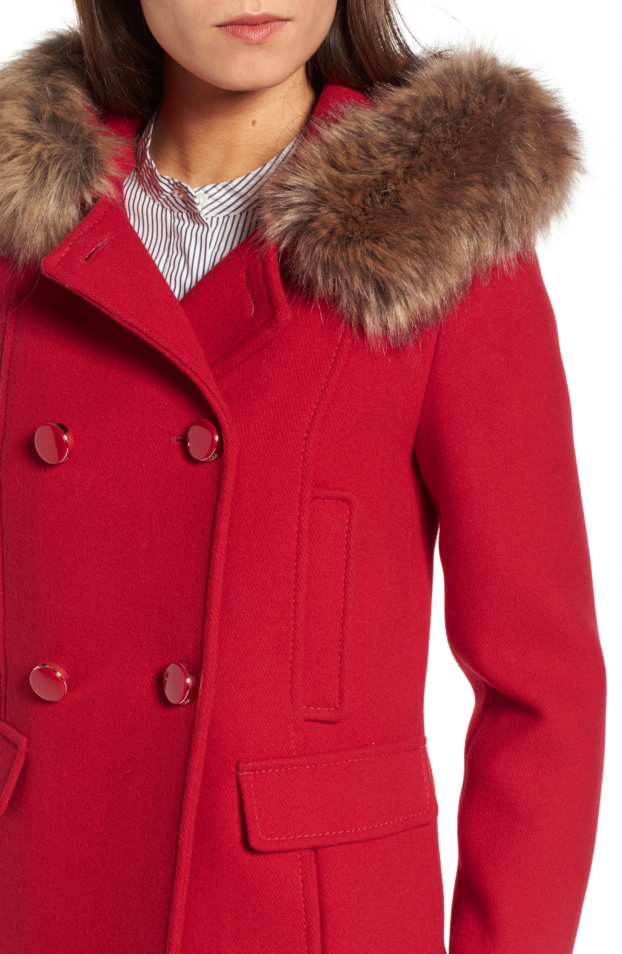 faux fur trim hooded peacoat,                             Alternate thumbnail 4, color,                             Posy Red