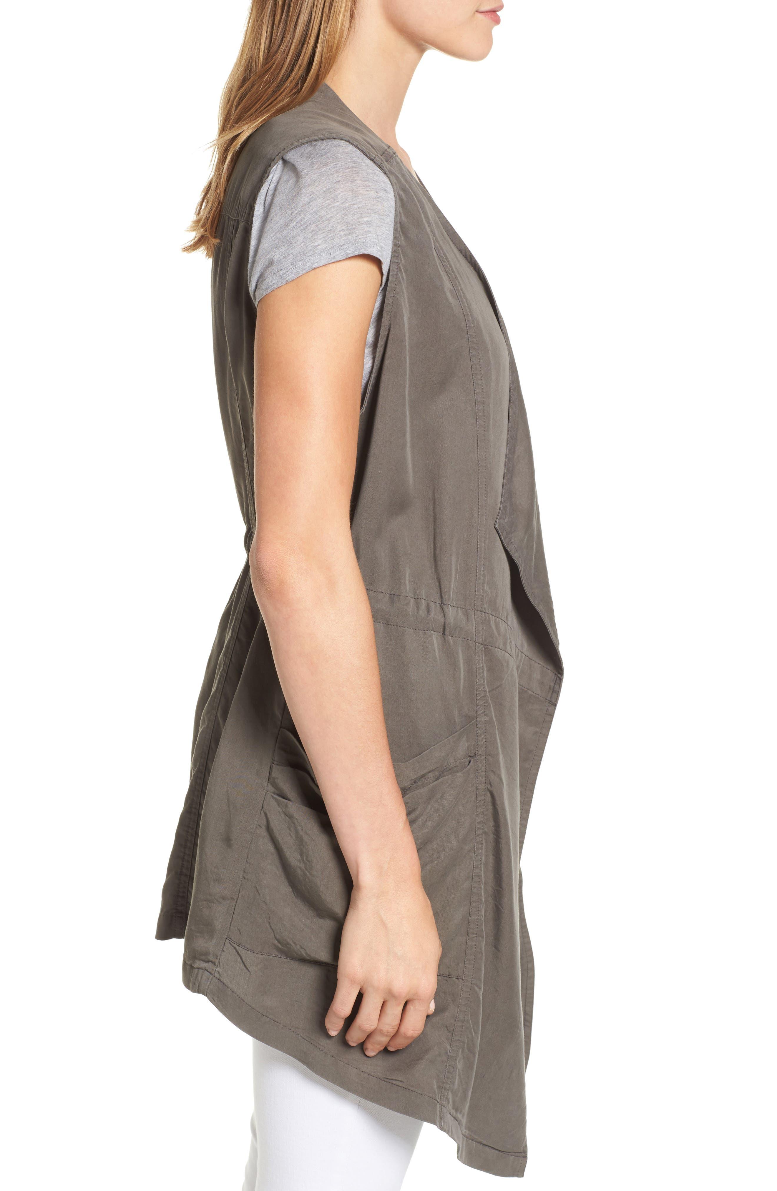 Drape Front Utility Vest,                             Alternate thumbnail 3, color,                             Olive