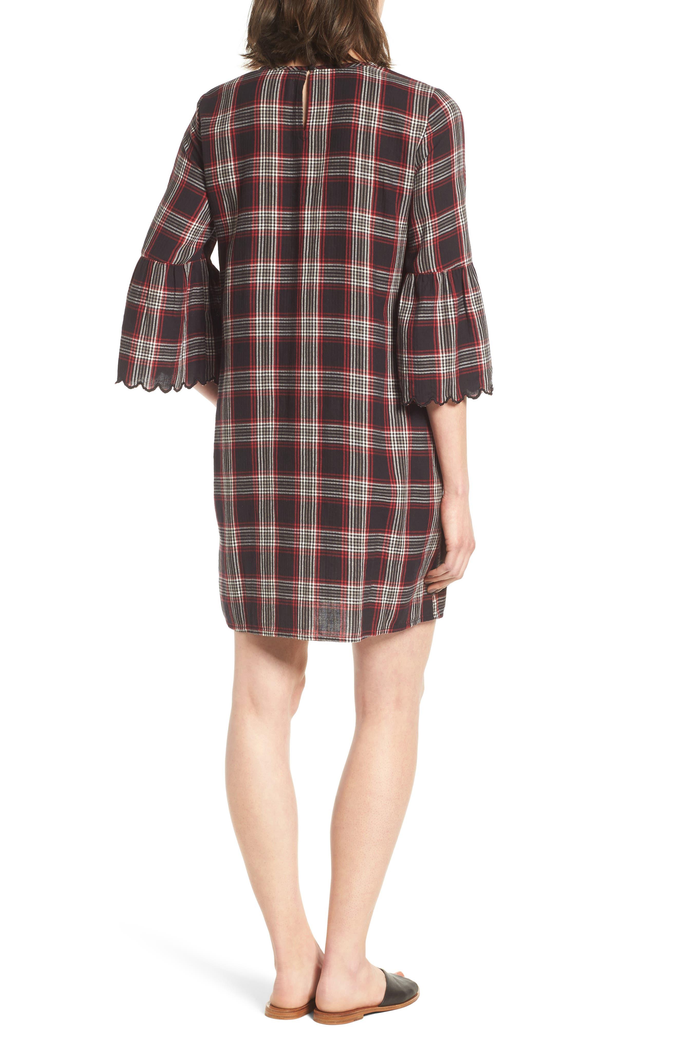 Alternate Image 2  - Caslon® Bell Sleeve Plaid Shift Dress