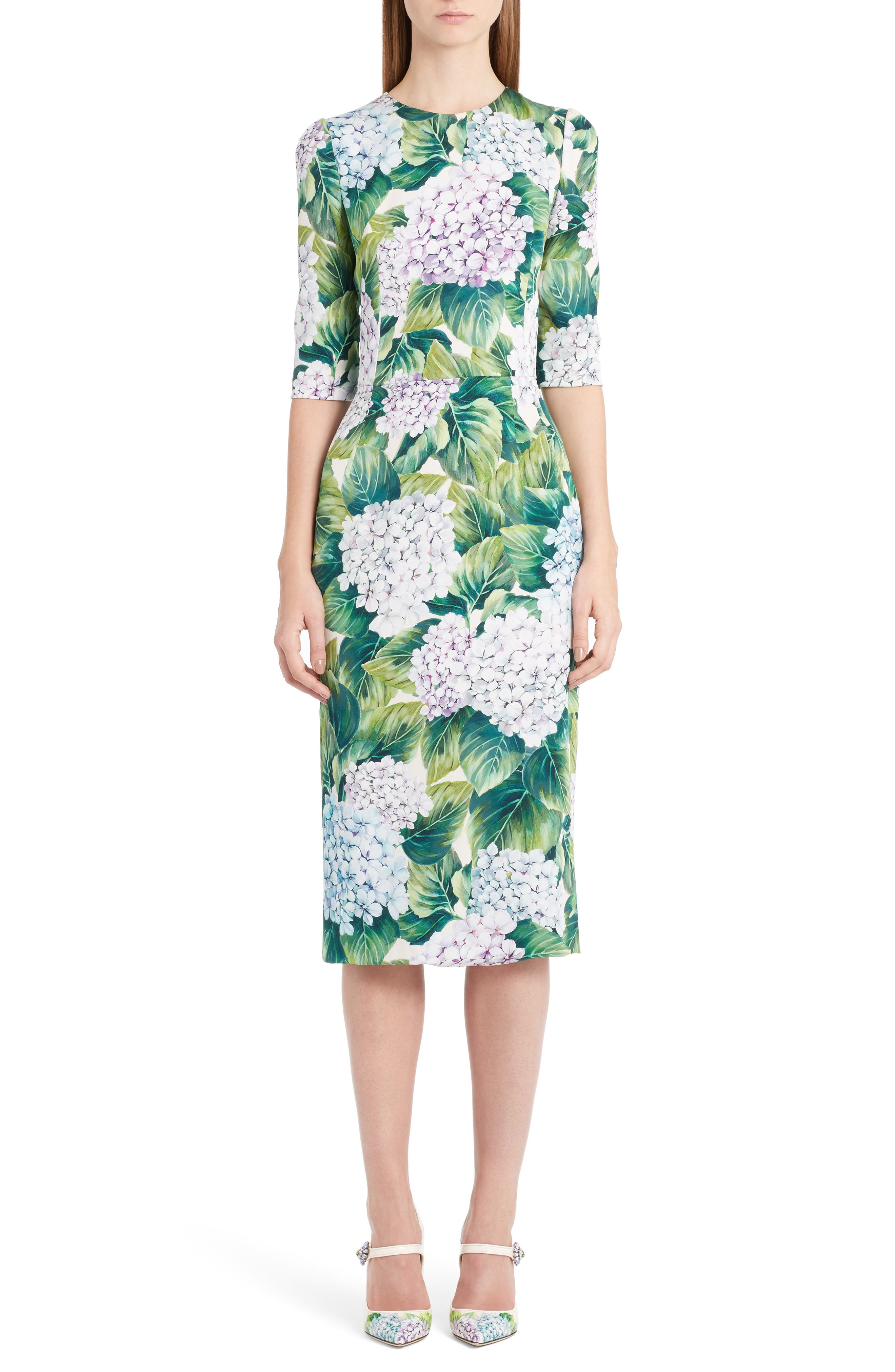 Main Image - Dolce&Gabbana Hydrangea Print Stretch Silk Dress