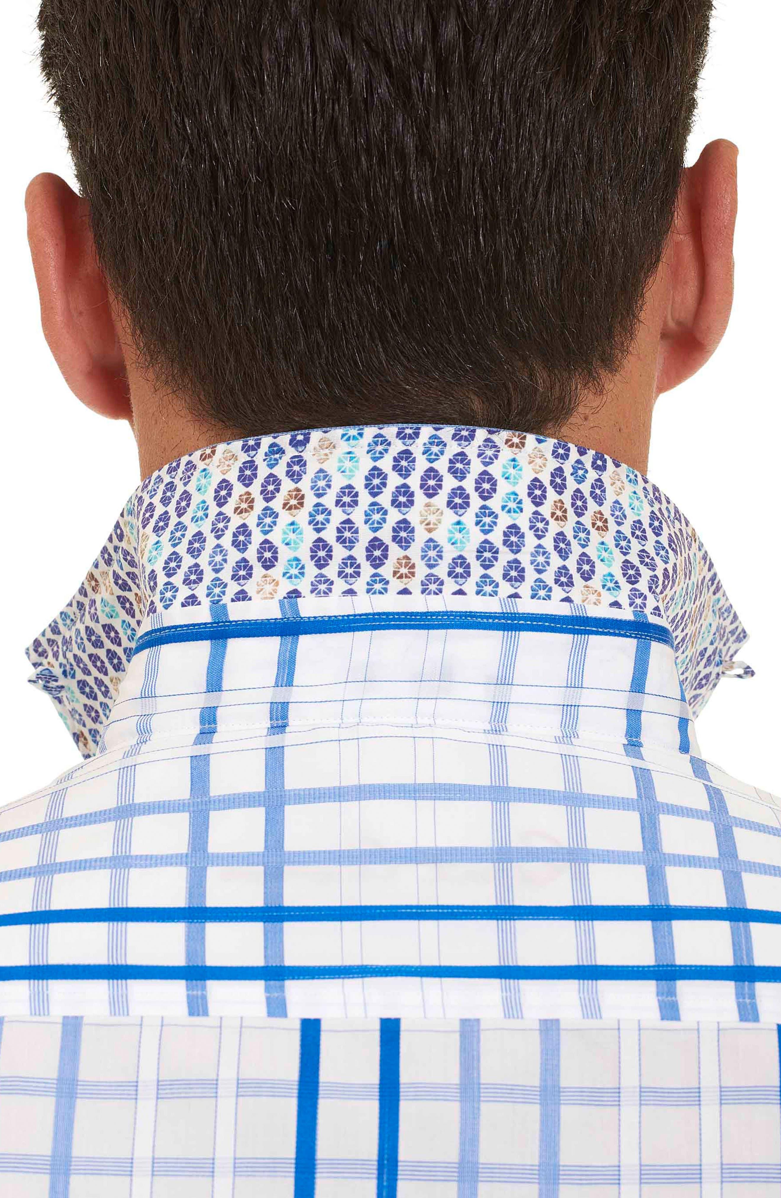 Alternate Image 2  - Robert Graham Dax Tailored Fit Check Short Sleeve Linen Sport Shirt