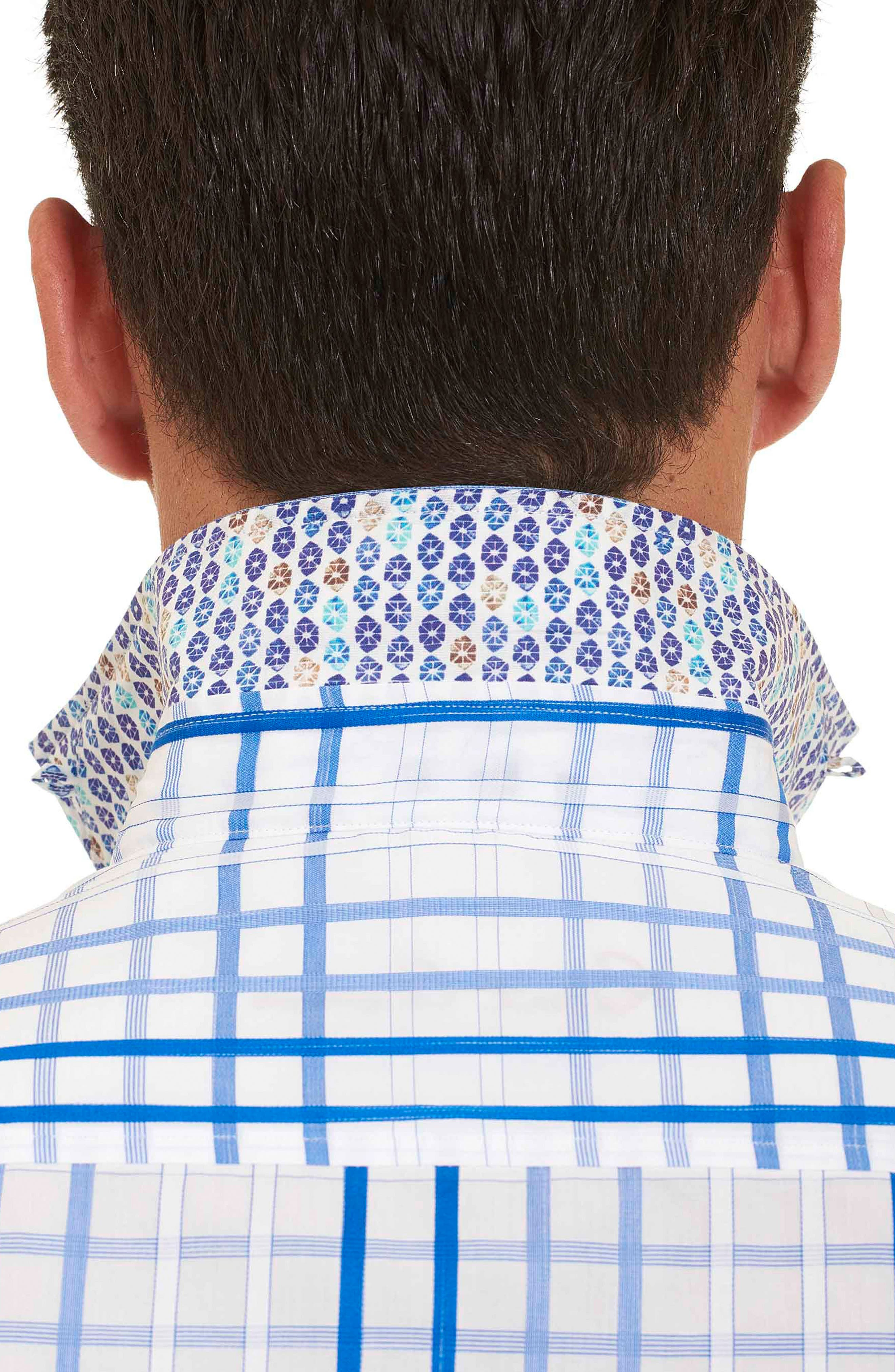 Dax Tailored Fit Check Short Sleeve Linen Sport Shirt,                             Alternate thumbnail 2, color,                             Blue