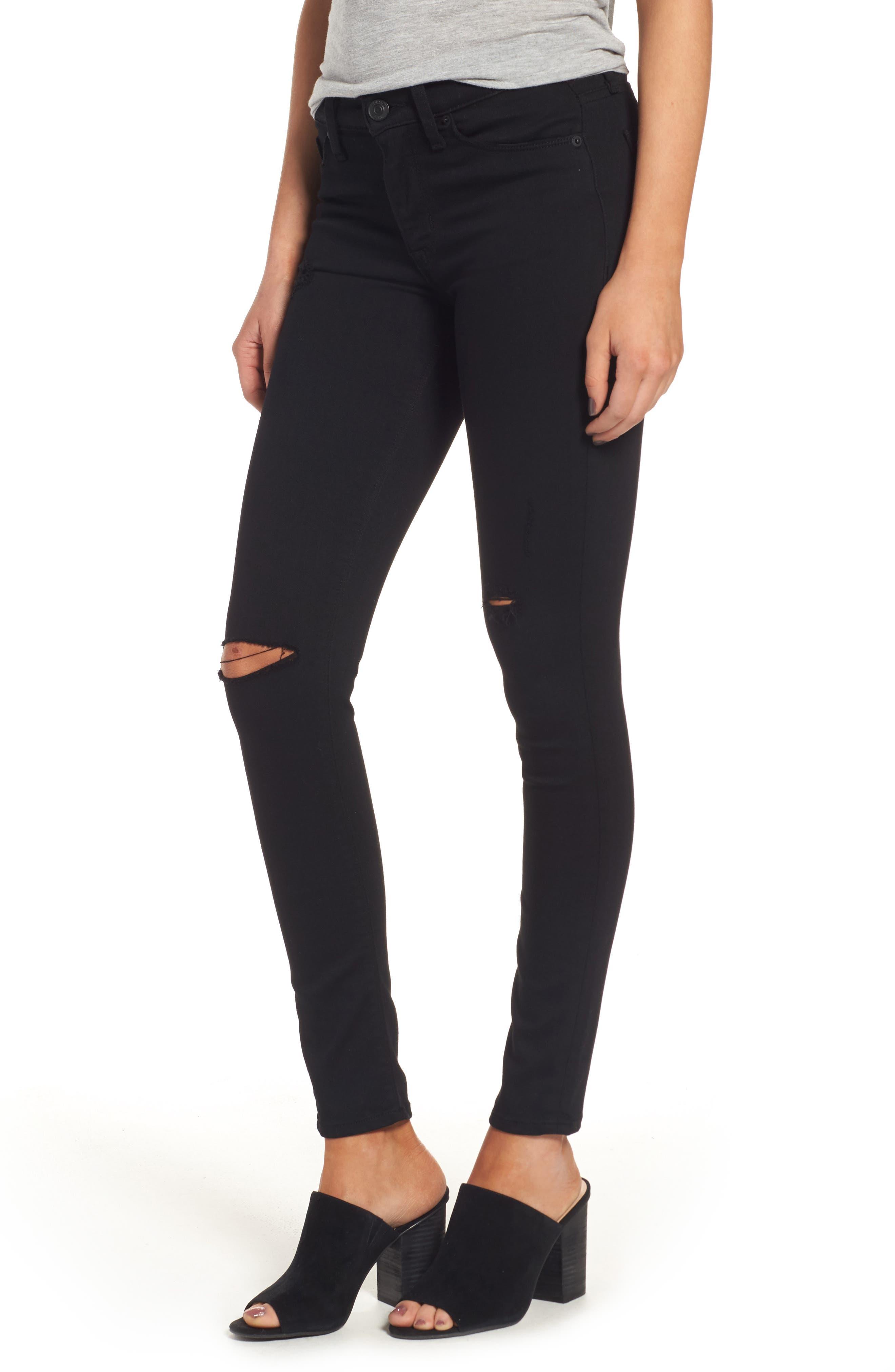 Alternate Image 1 Selected - Hudson Jeans 'Elysian - Nico' Super Skinny Jeans (Destructed Black) (Nordstrom Exclusive)