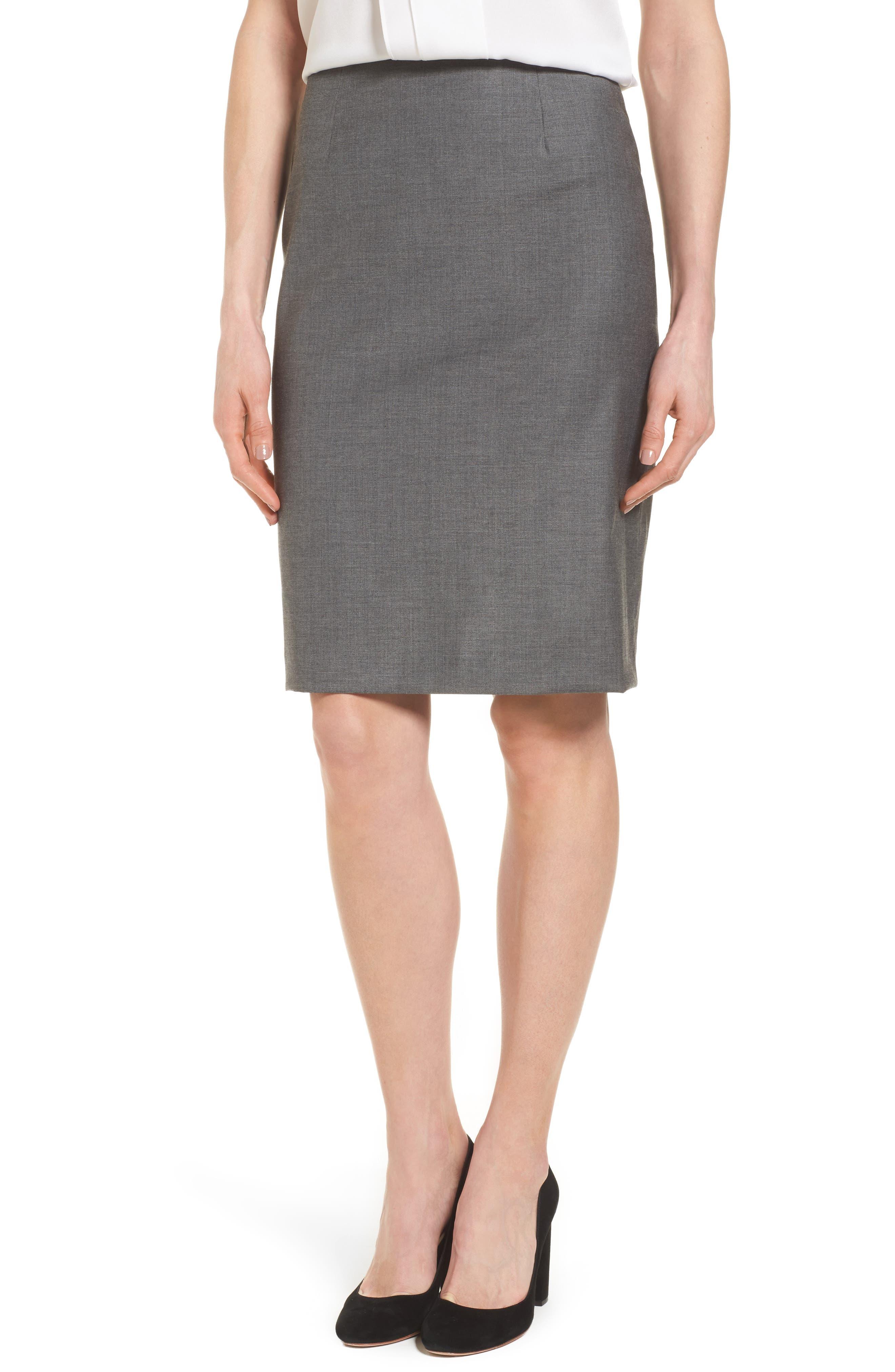 Alternate Image 1 Selected - BOSS Vileana Wool Blend Suit Skirt